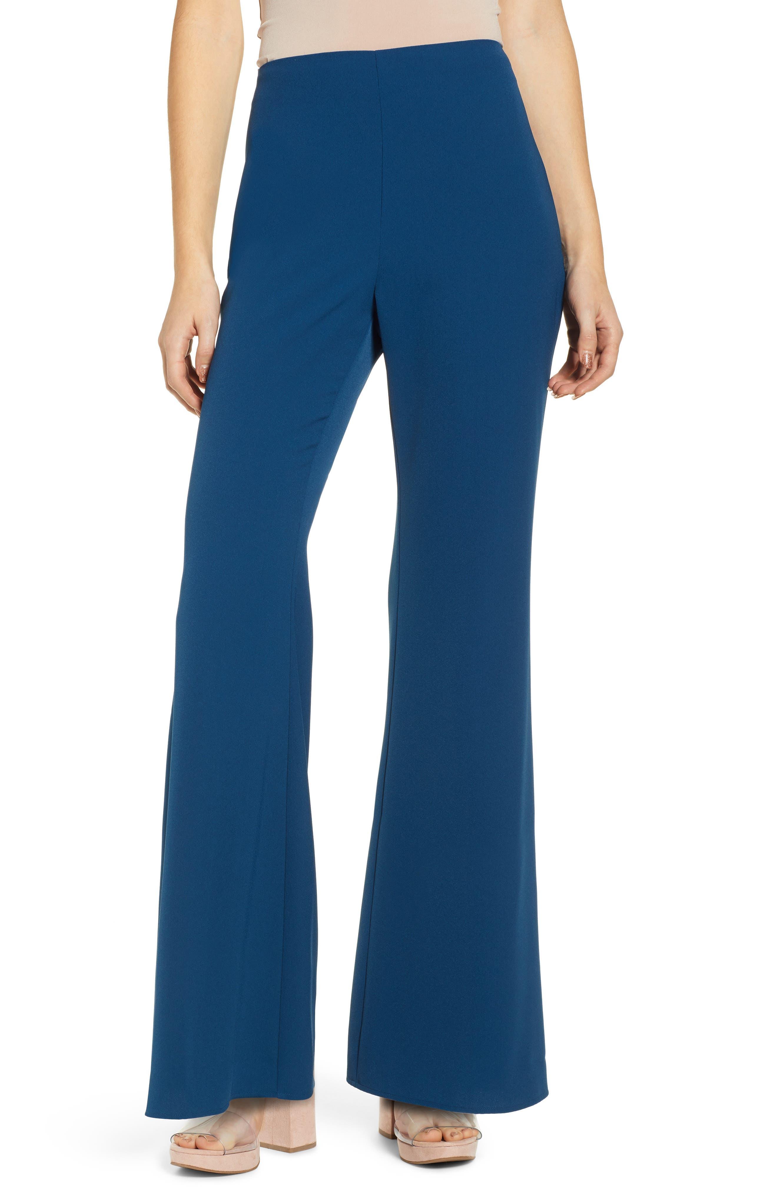 Plus Size Leith High Waist Flare Leg Pants, Blue