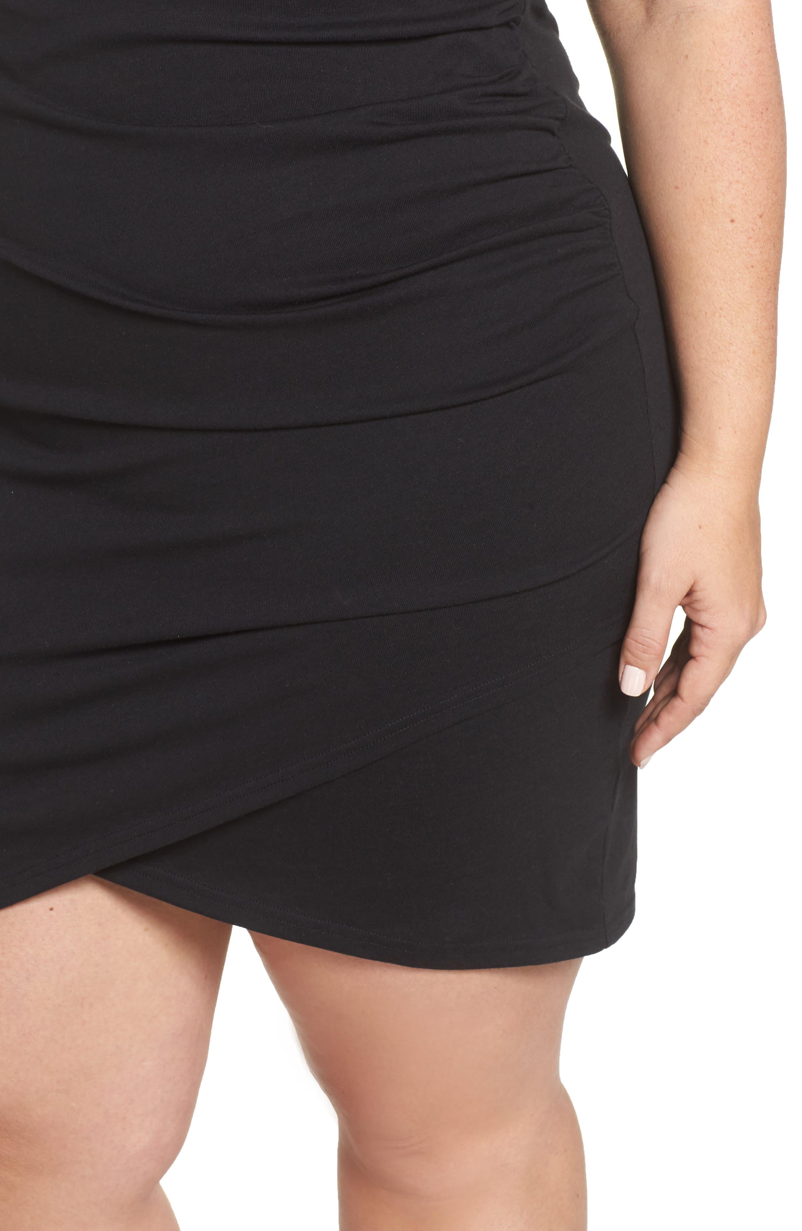 Ruched Sheath Dress,                             Alternate thumbnail 4, color,                             BLACK