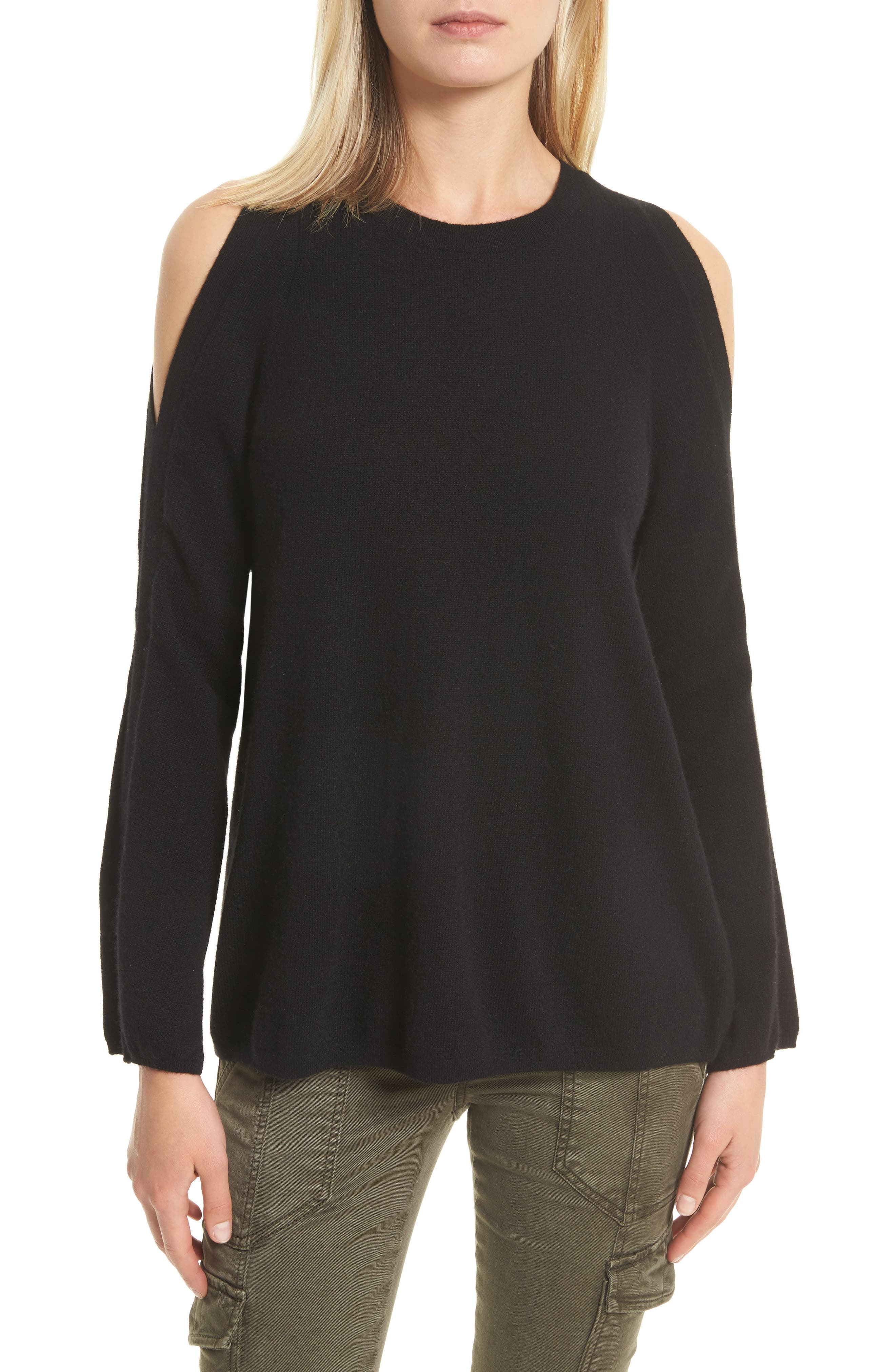 Amalyn Cold Shoulder Wool & Cashmere Sweater,                             Main thumbnail 1, color,