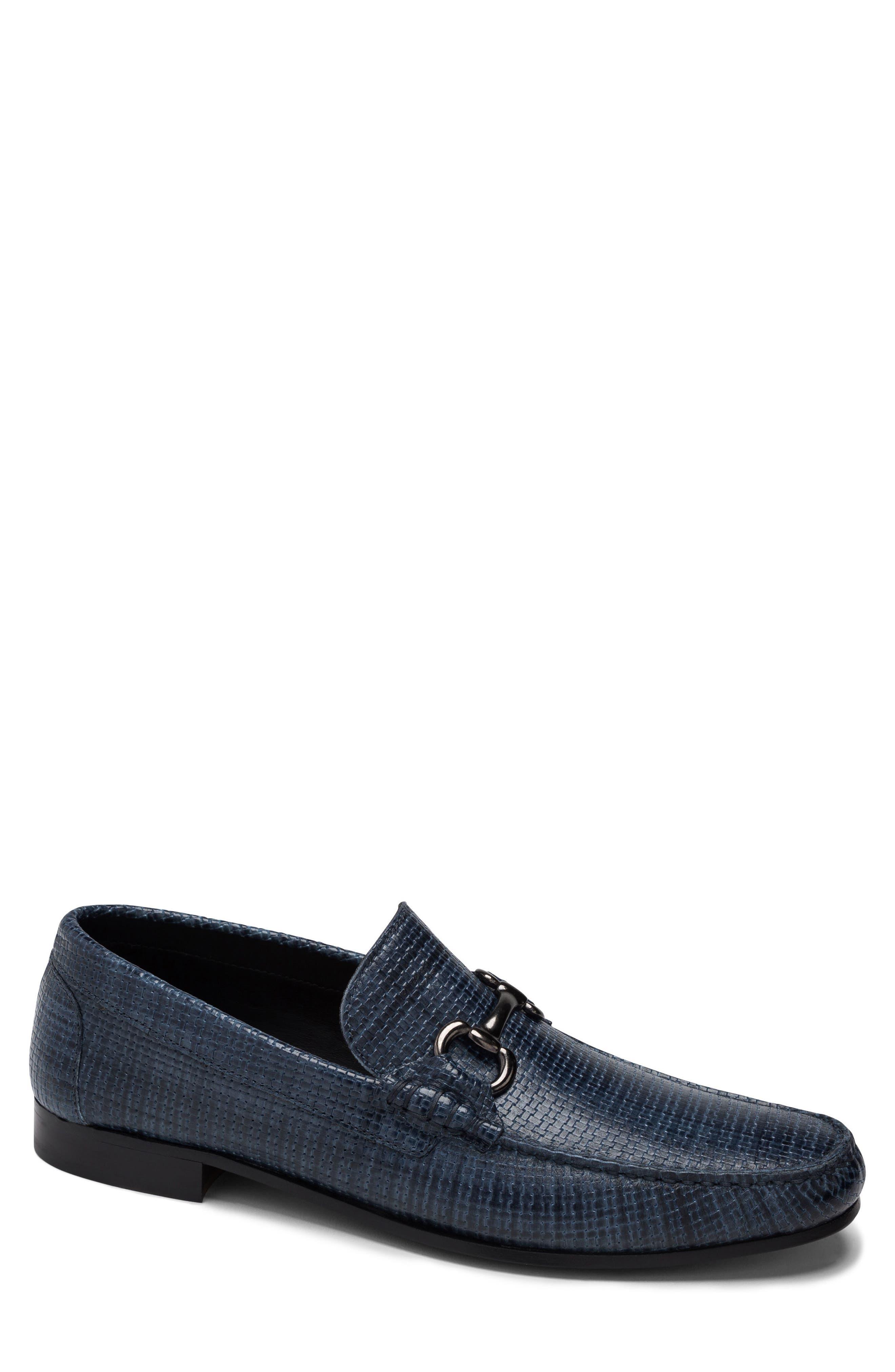 men's bugatchi embossed bit loafer, size 8.5 m - blue