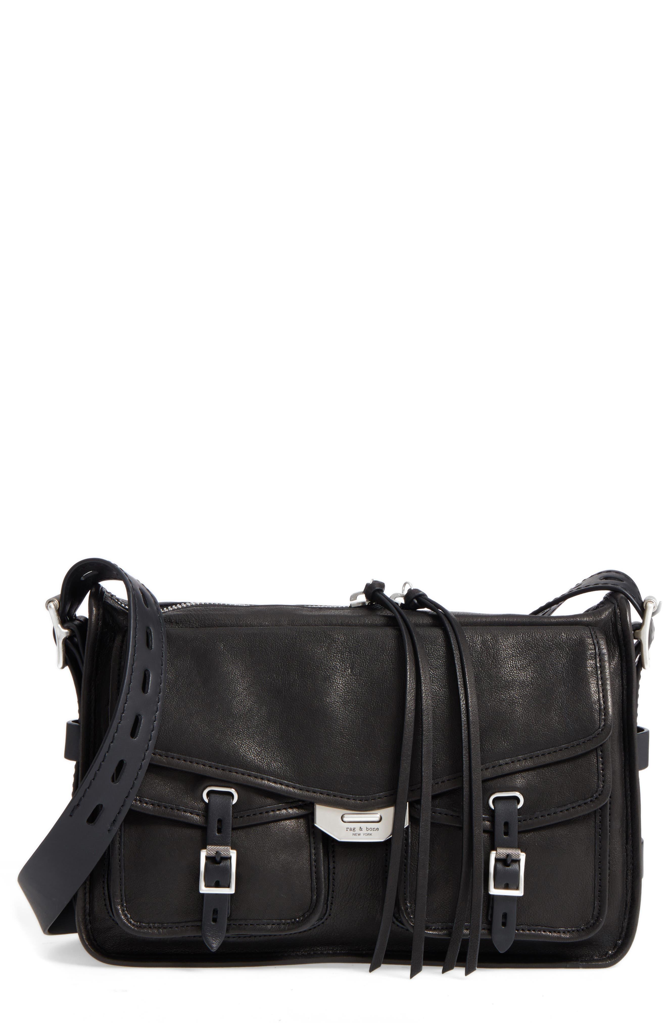 Field Leather Messenger Bag,                         Main,                         color, BLACK
