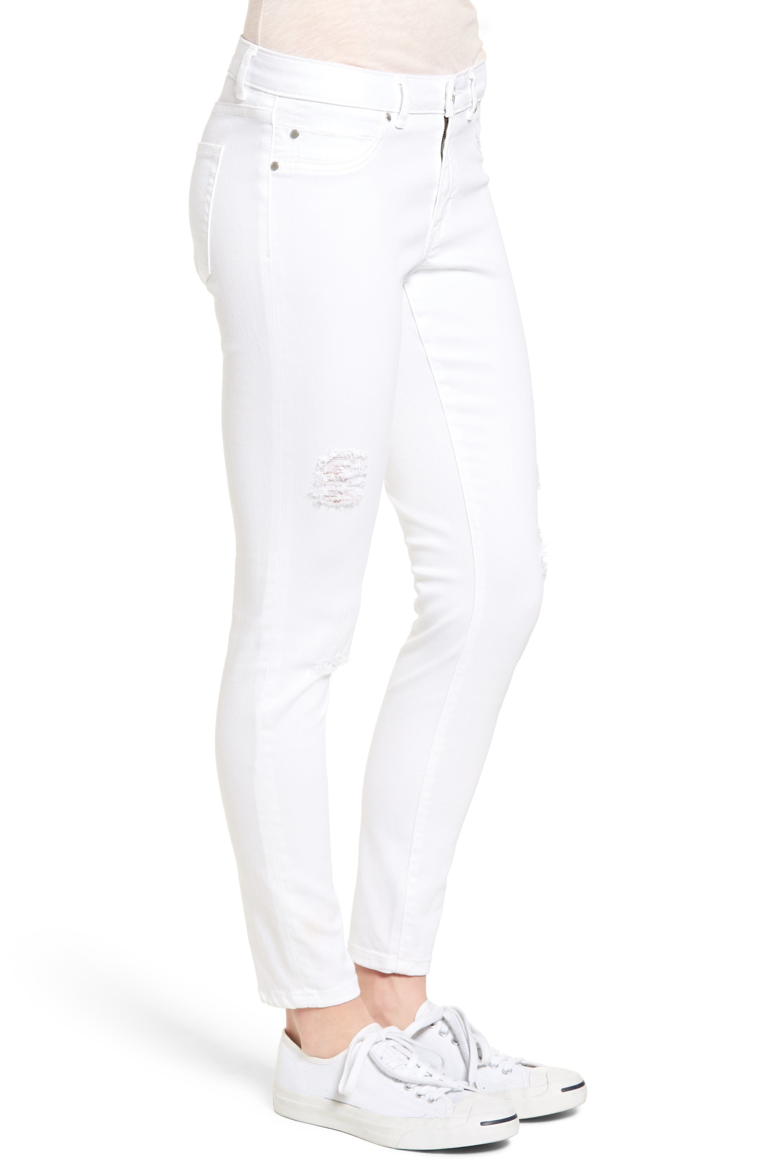 Distressed Skinny Jeans,                             Alternate thumbnail 3, color,                             100