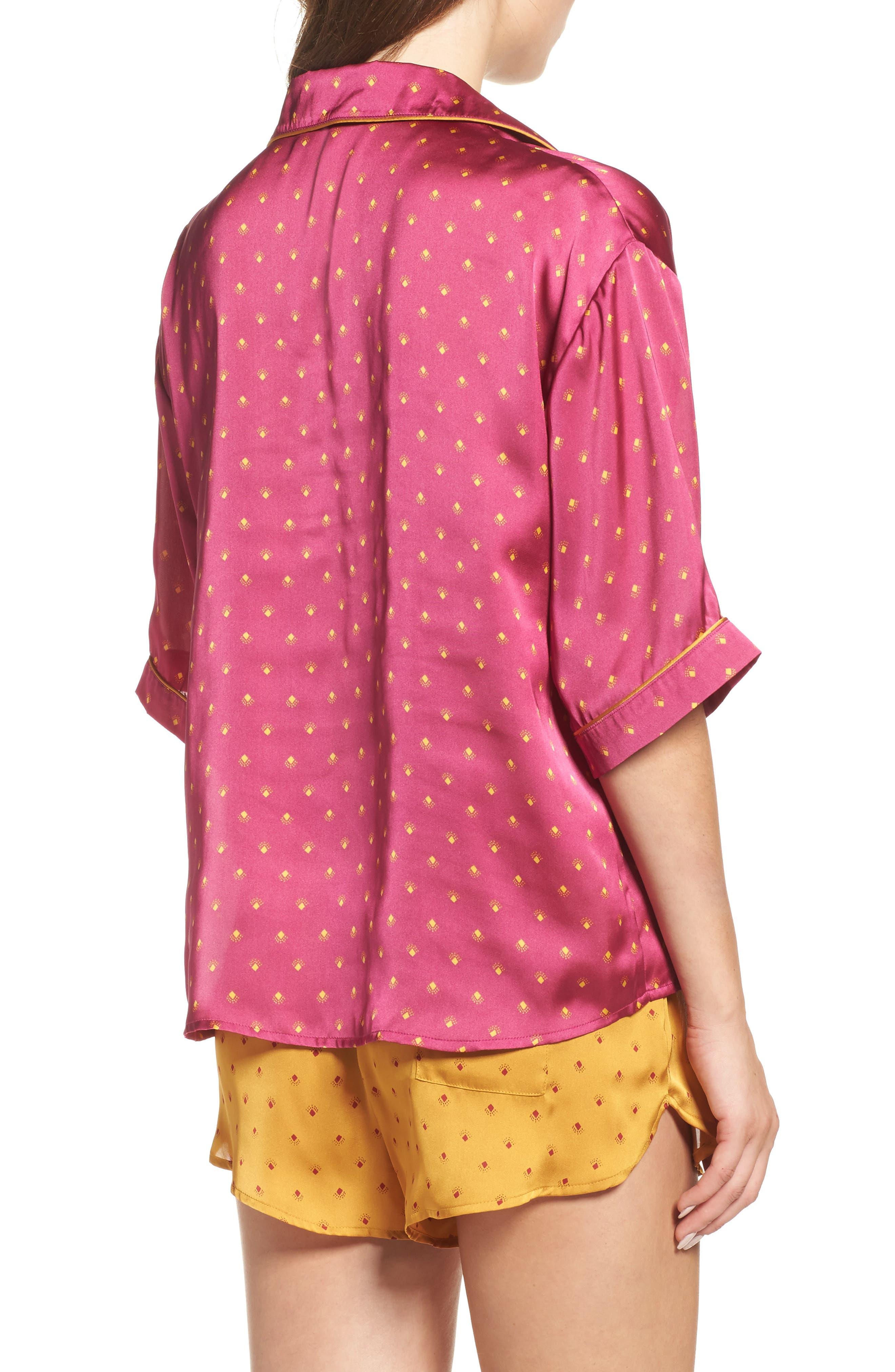 Short Satin Pajamas,                             Alternate thumbnail 6, color,