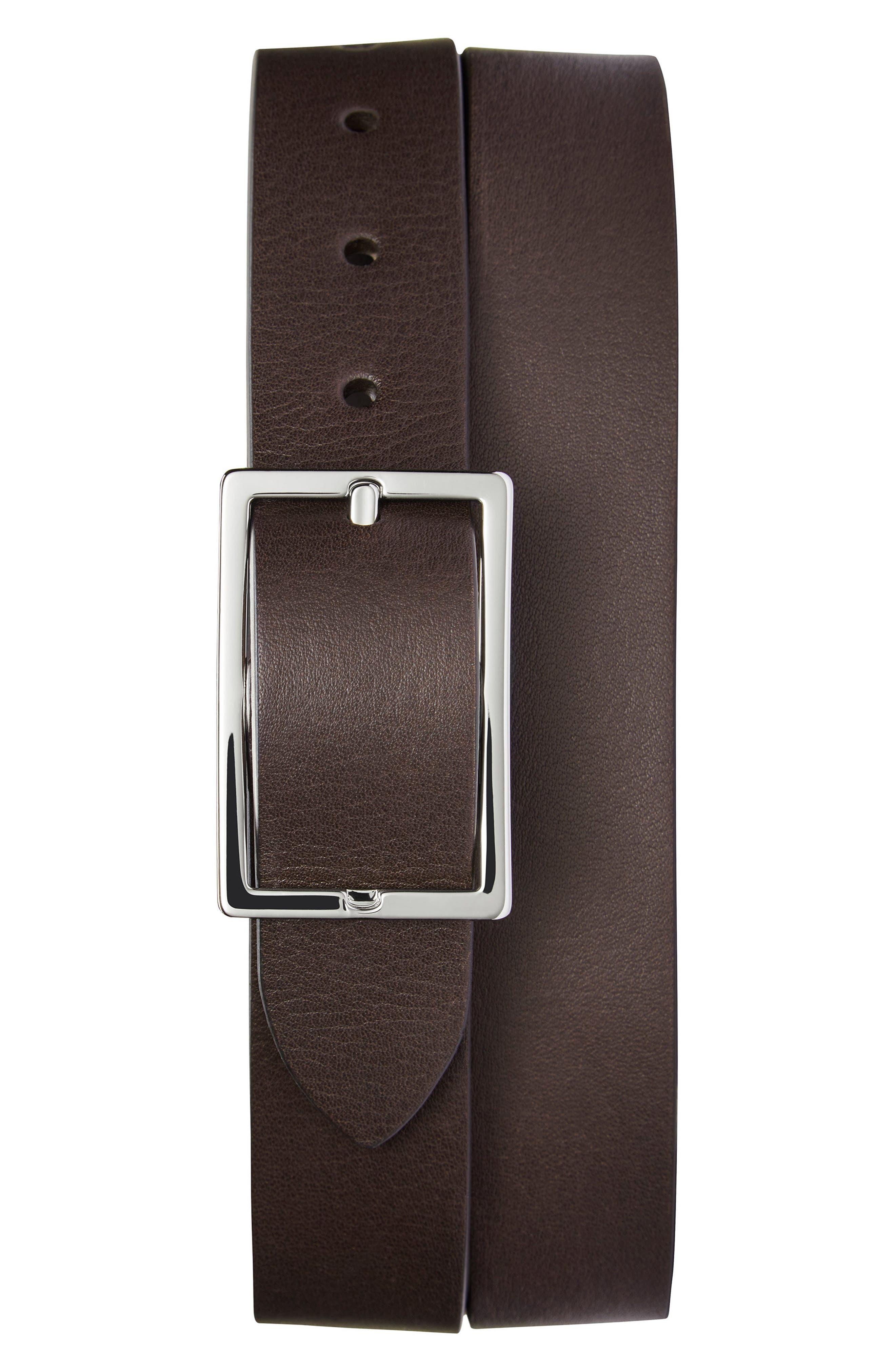 Reversible Leather Belt,                             Alternate thumbnail 2, color,                             BLACK/ WALNUT