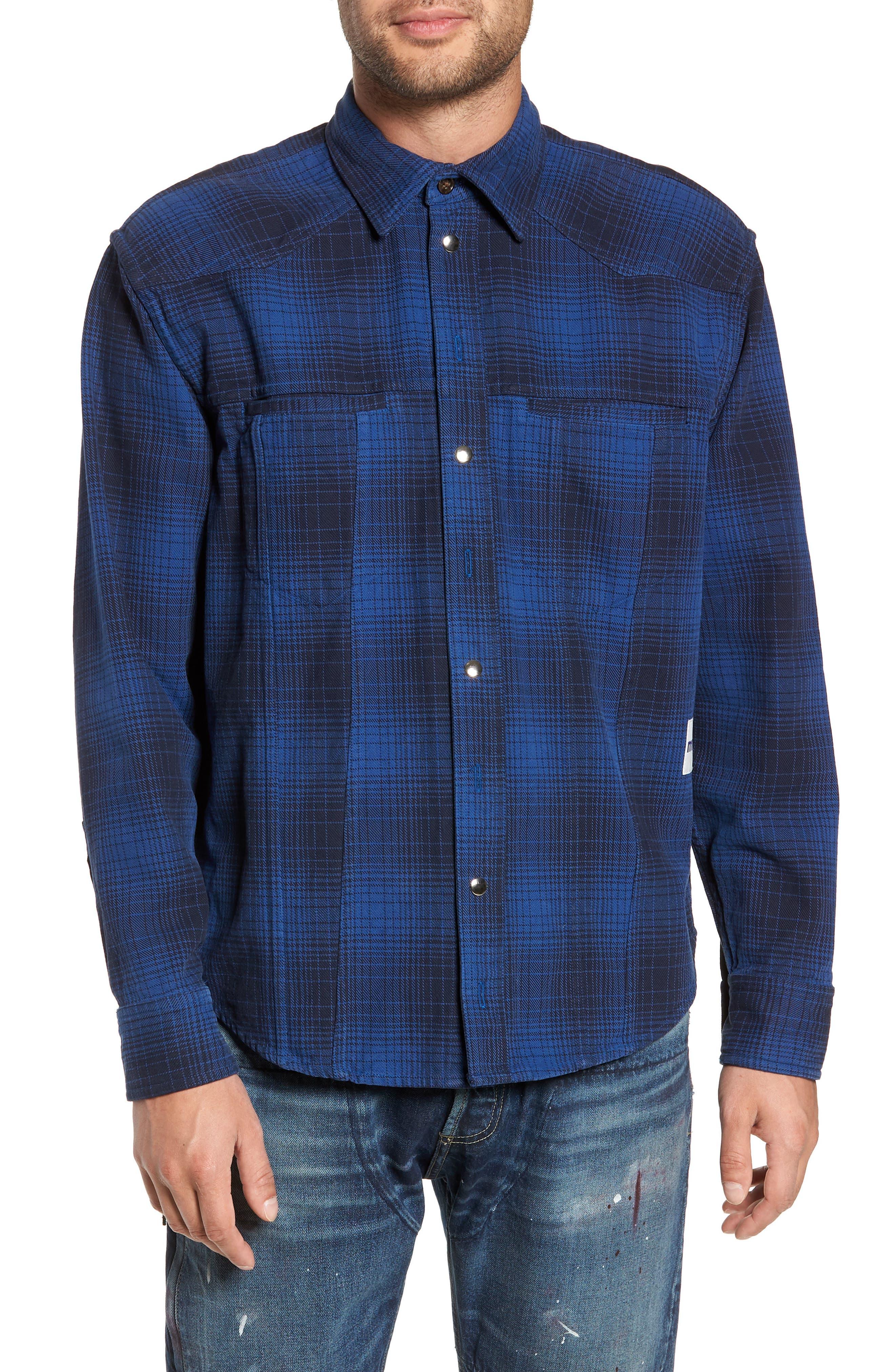 MR. COMPLETELY Western Flannel Slim Shirt in Blue