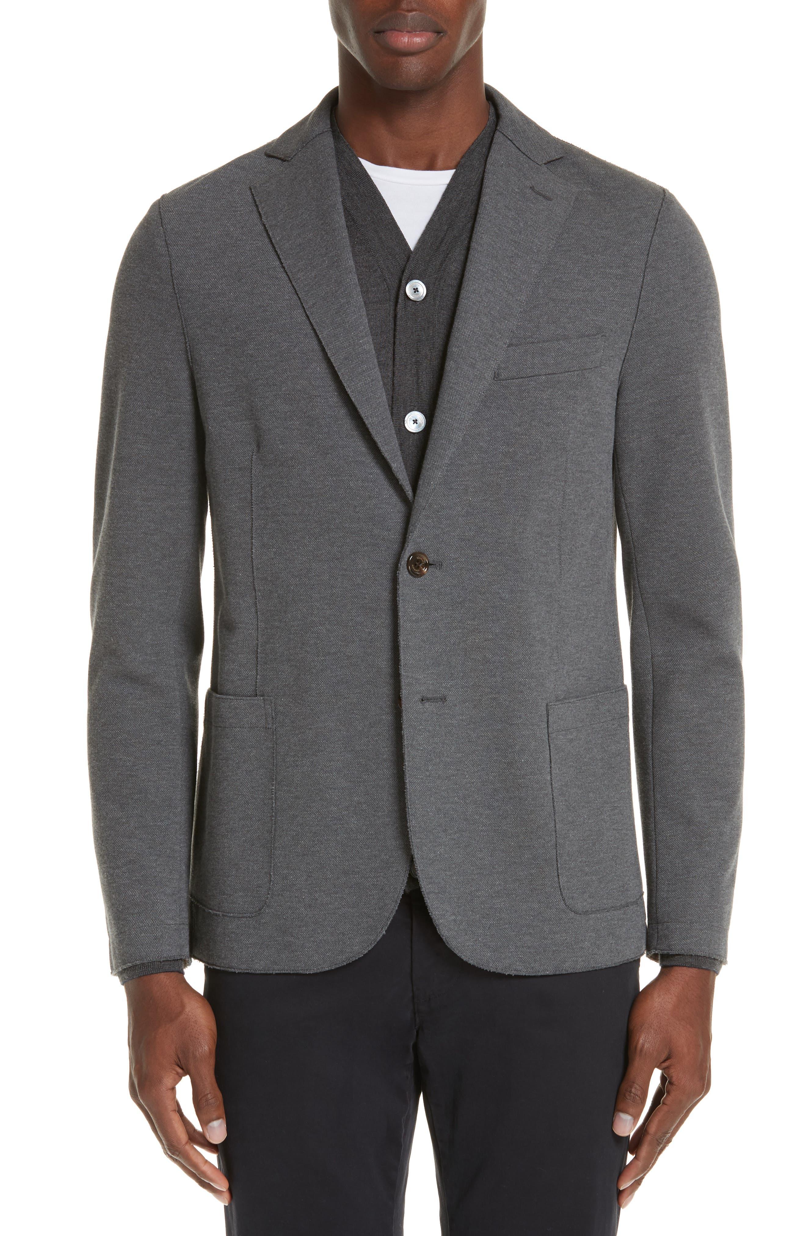 Slim Fit Stretch Cotton Blend Blazer,                         Main,                         color, MED GREY