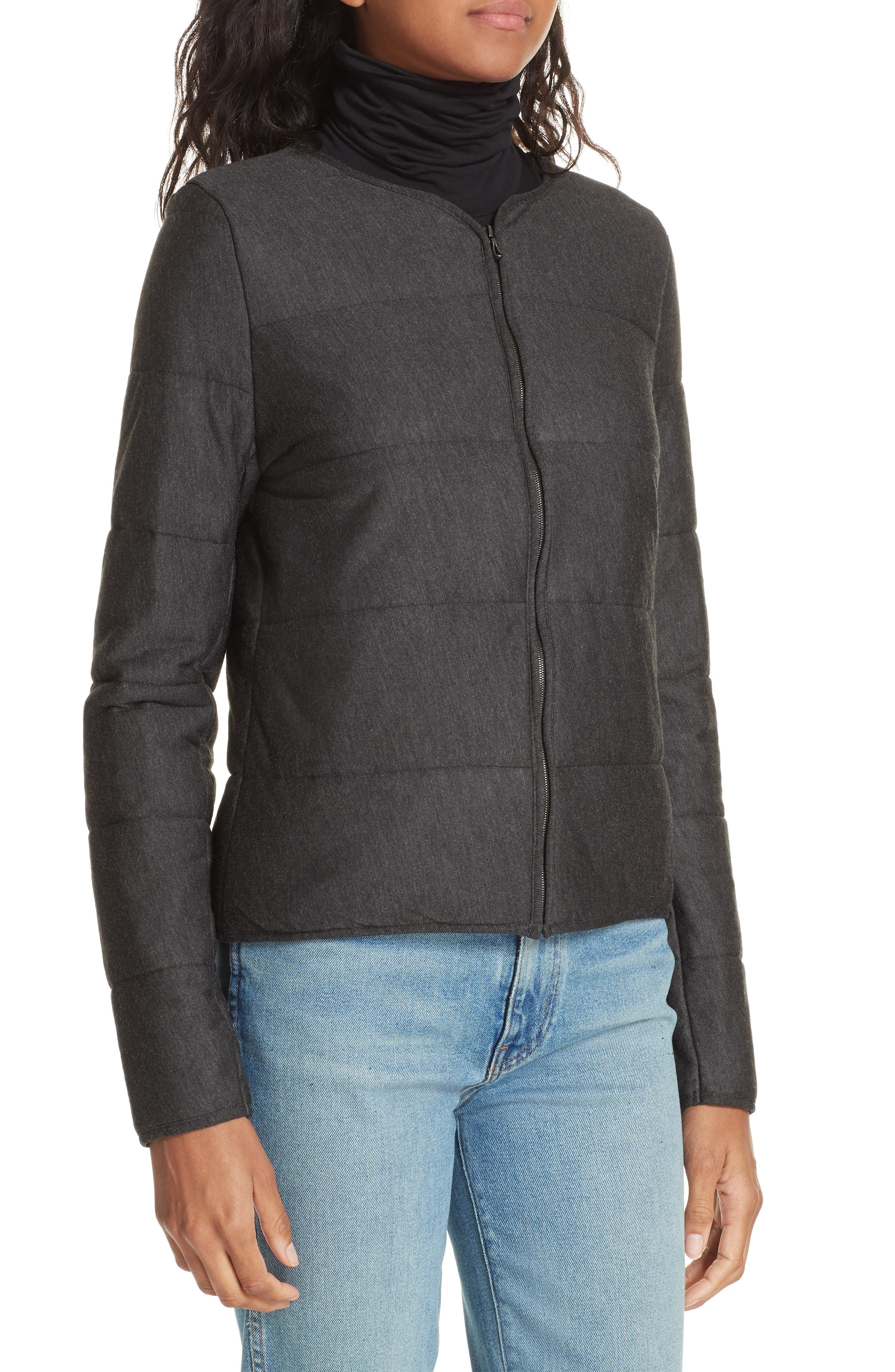 Quilted Bolero Jacket,                             Alternate thumbnail 4, color,                             ANTHRACITE