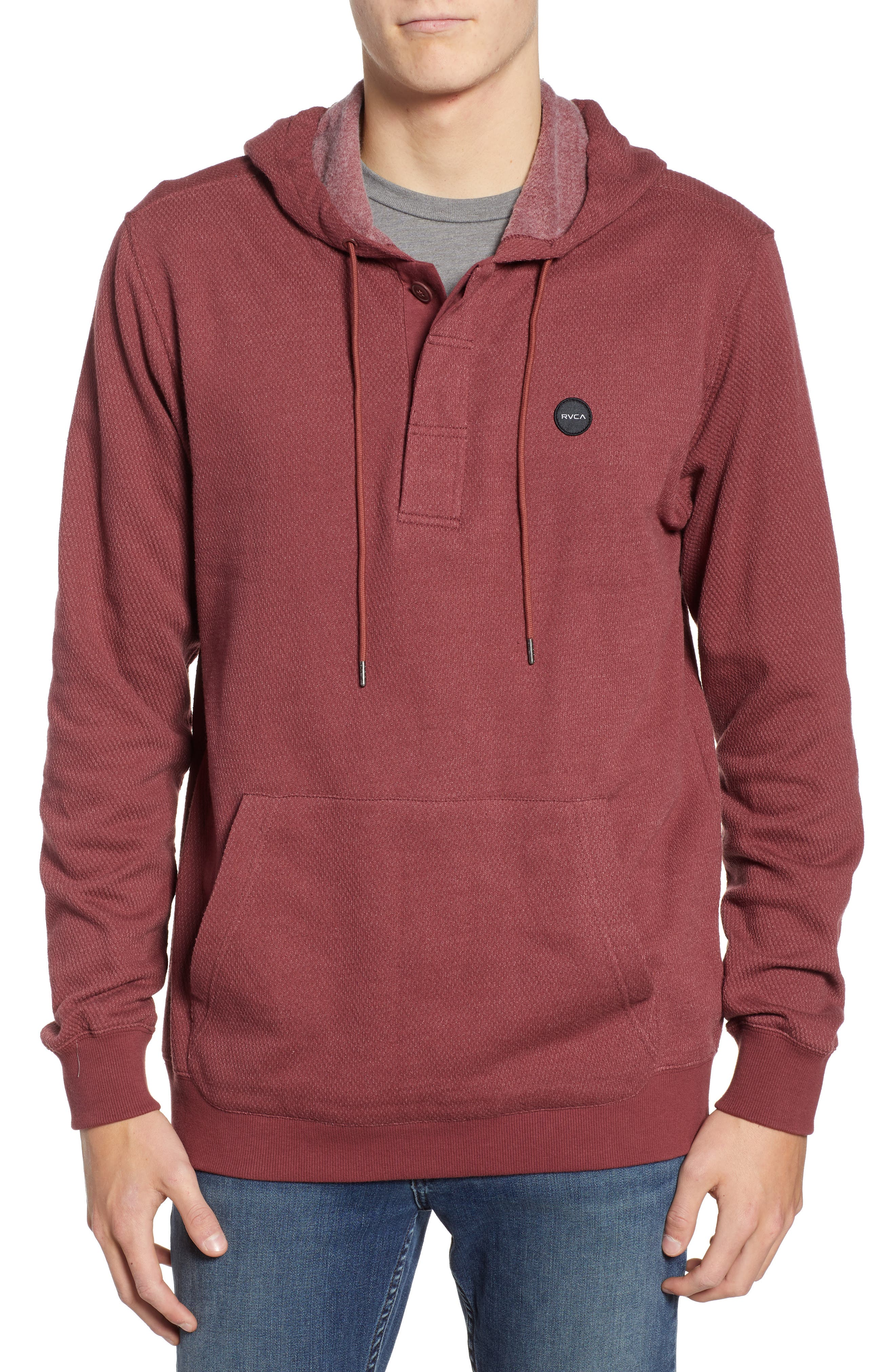 RVCA Lupo Pullover Hoodie in Bordeaux