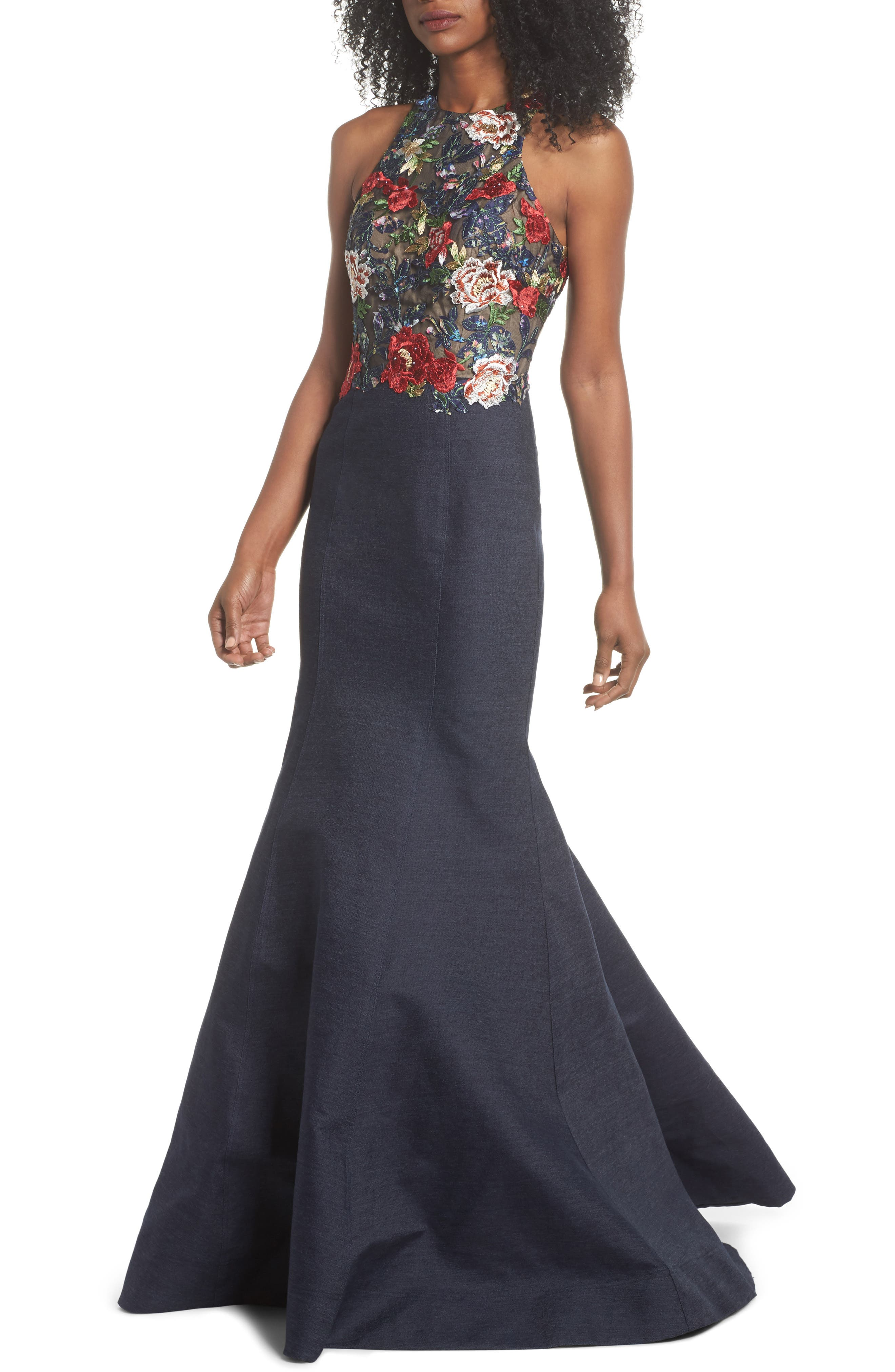 Embroidered Denim Mermaid Gown,                             Main thumbnail 1, color,