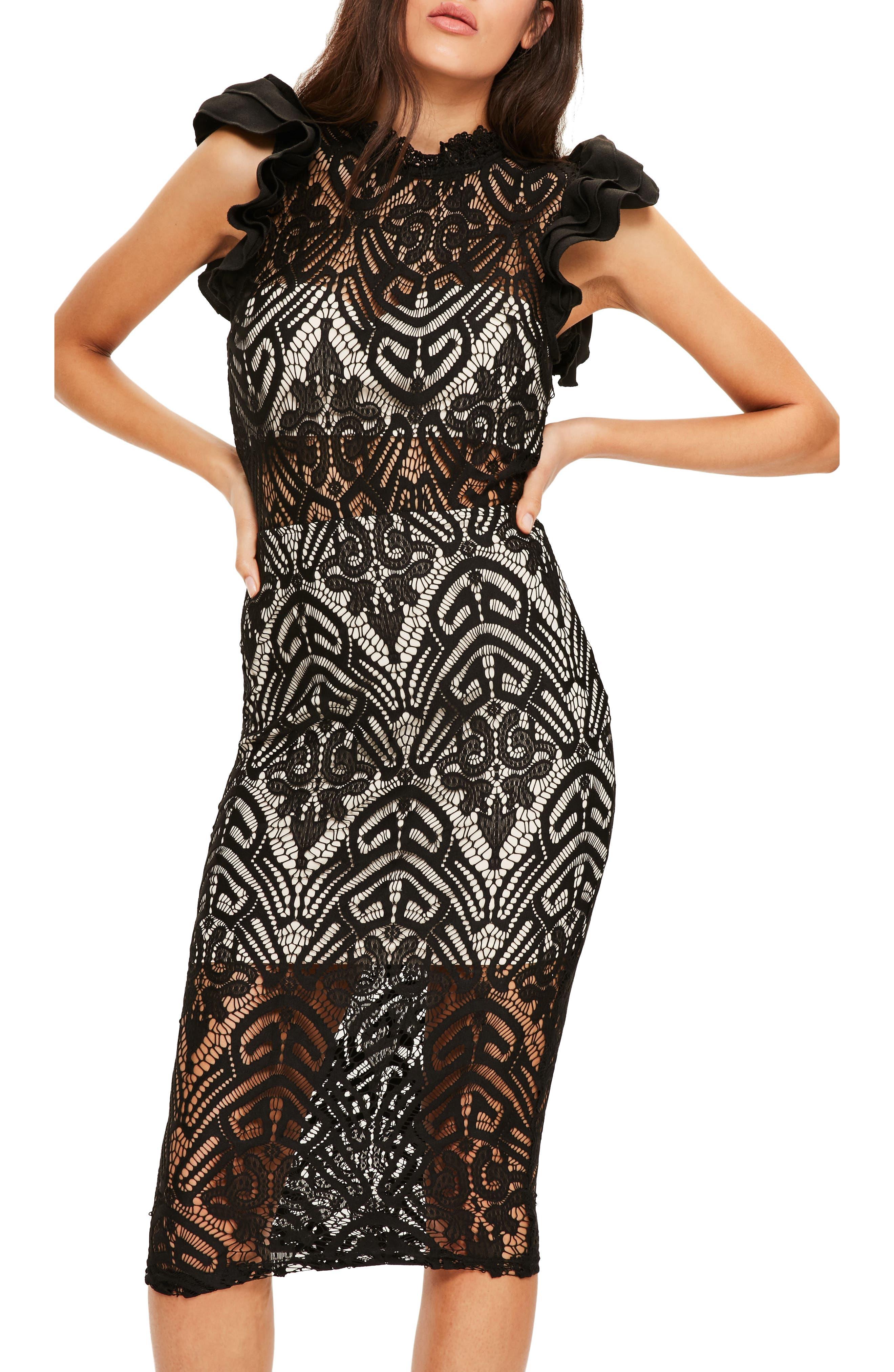 High Neck Lace Midi Dress, Main, color, 001