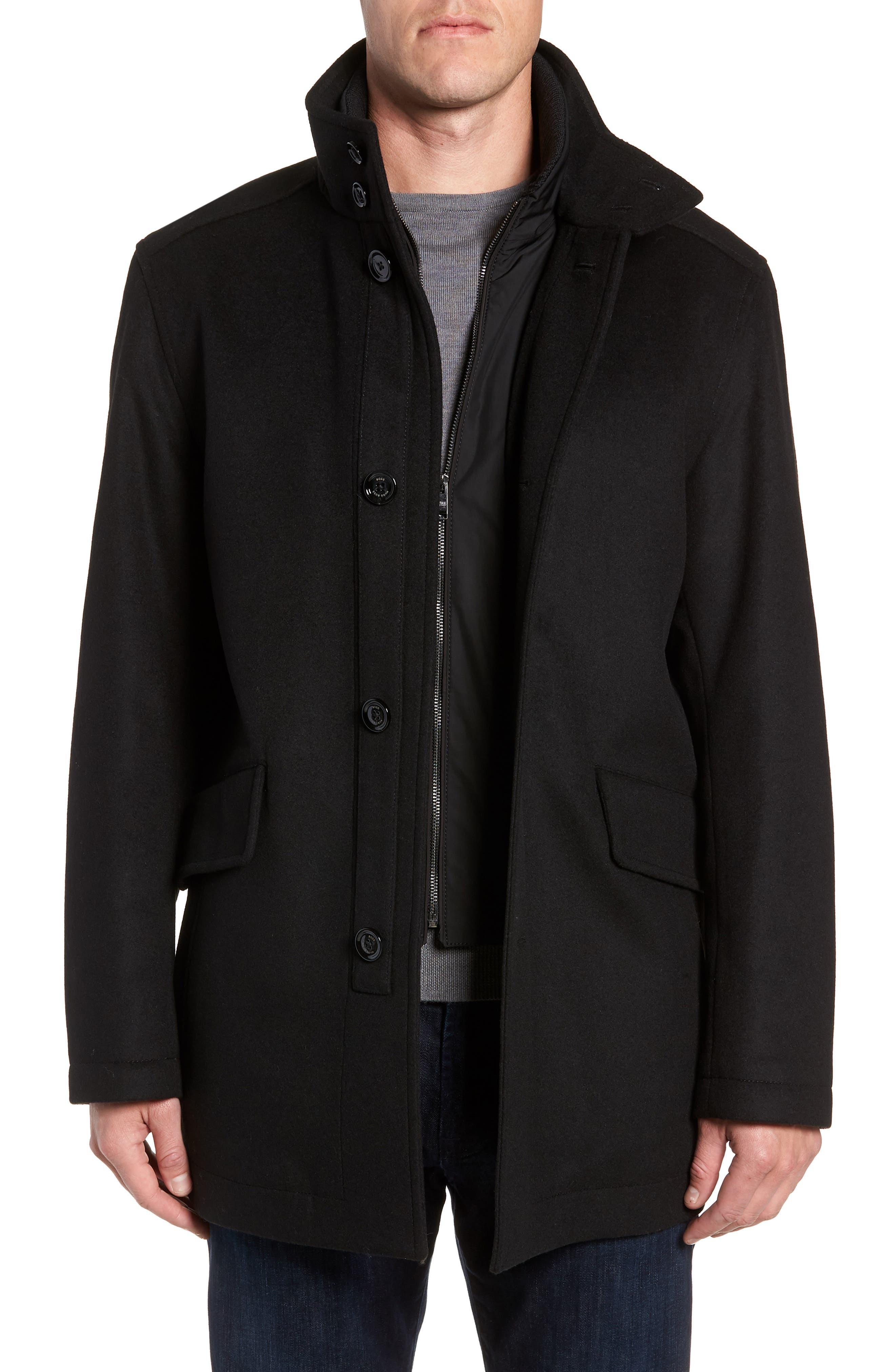 Coxtan Wool Regular Fit Car Coat,                             Main thumbnail 1, color,                             BLACK