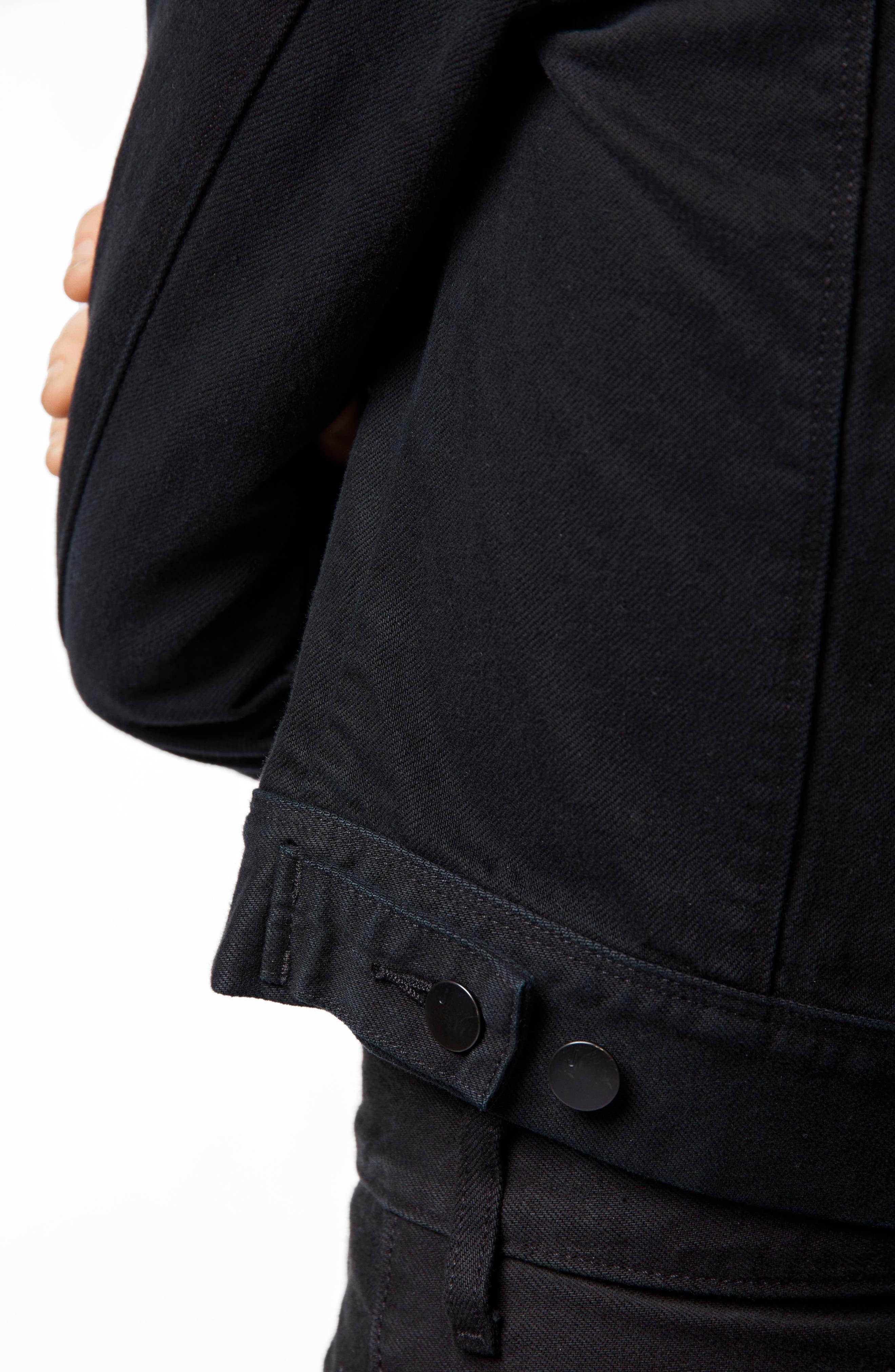 Harlow Shrunken Denim Jacket,                             Alternate thumbnail 4, color,                             HEMATITE