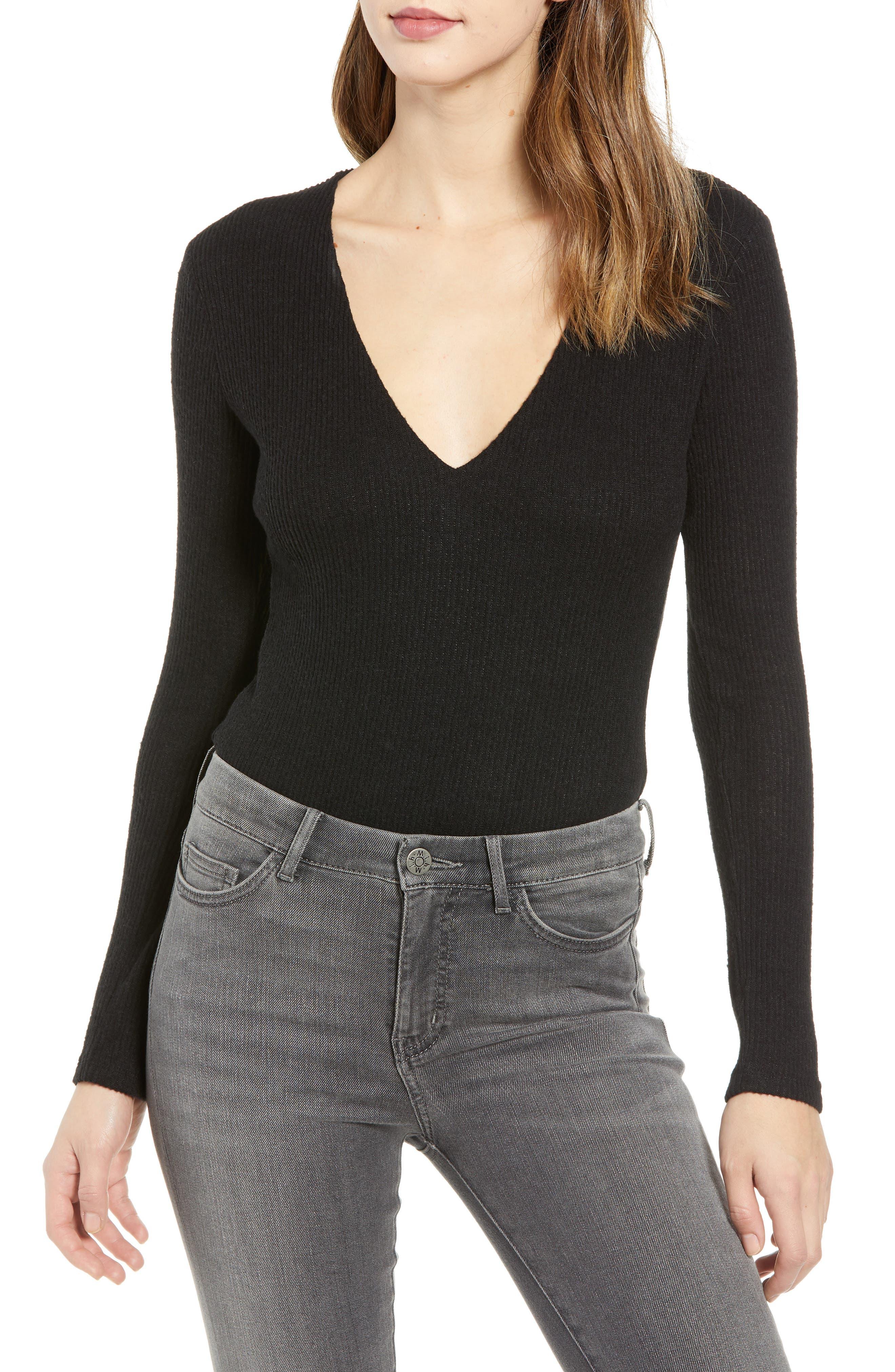 Ribbed V-Neck Bodysuit, Main, color, BLACK