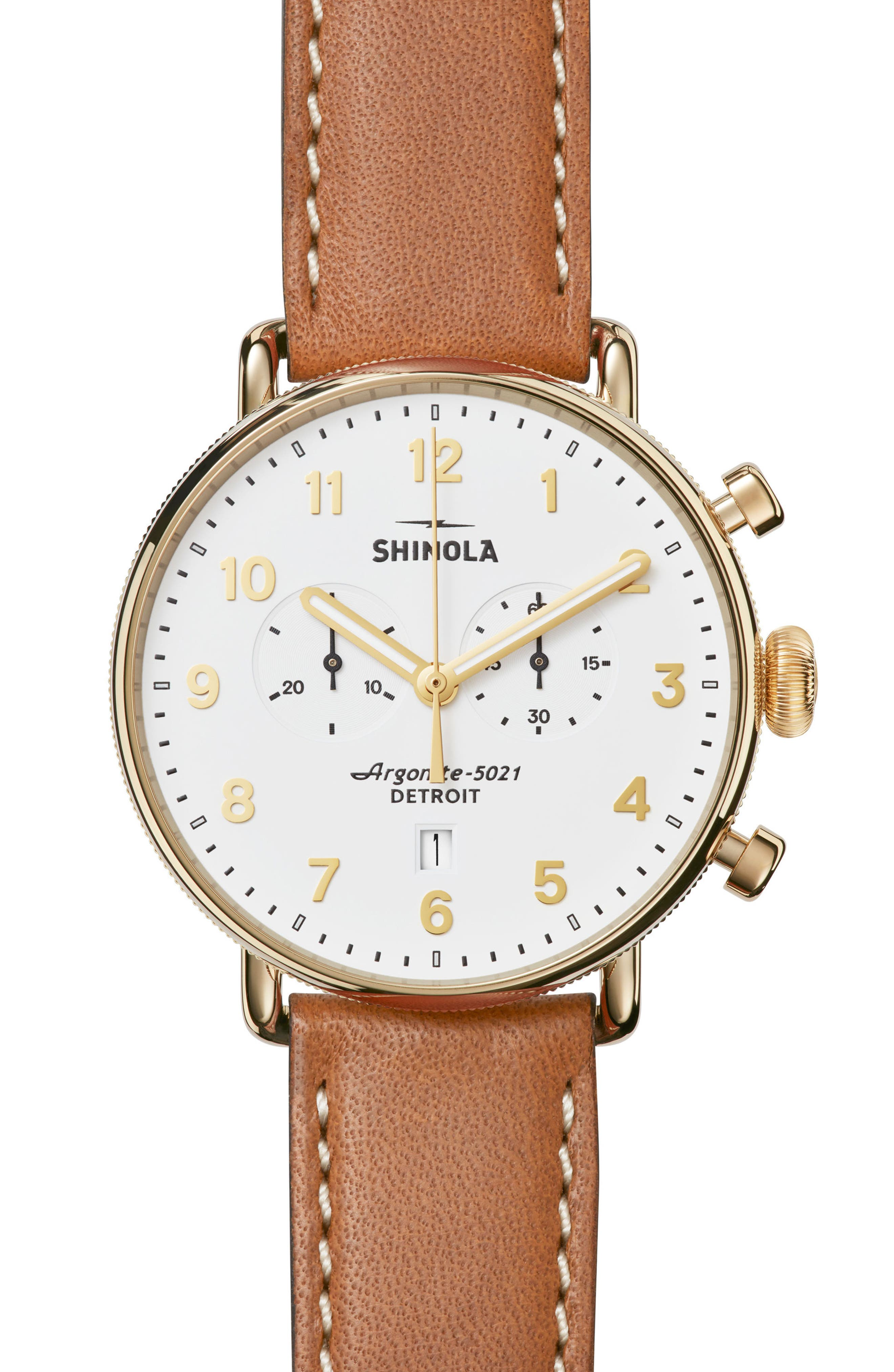 The Canfield Chrono Leather Strap Watch, 43mm,                             Main thumbnail 1, color,                             TAN/ WHITE/ GOLD