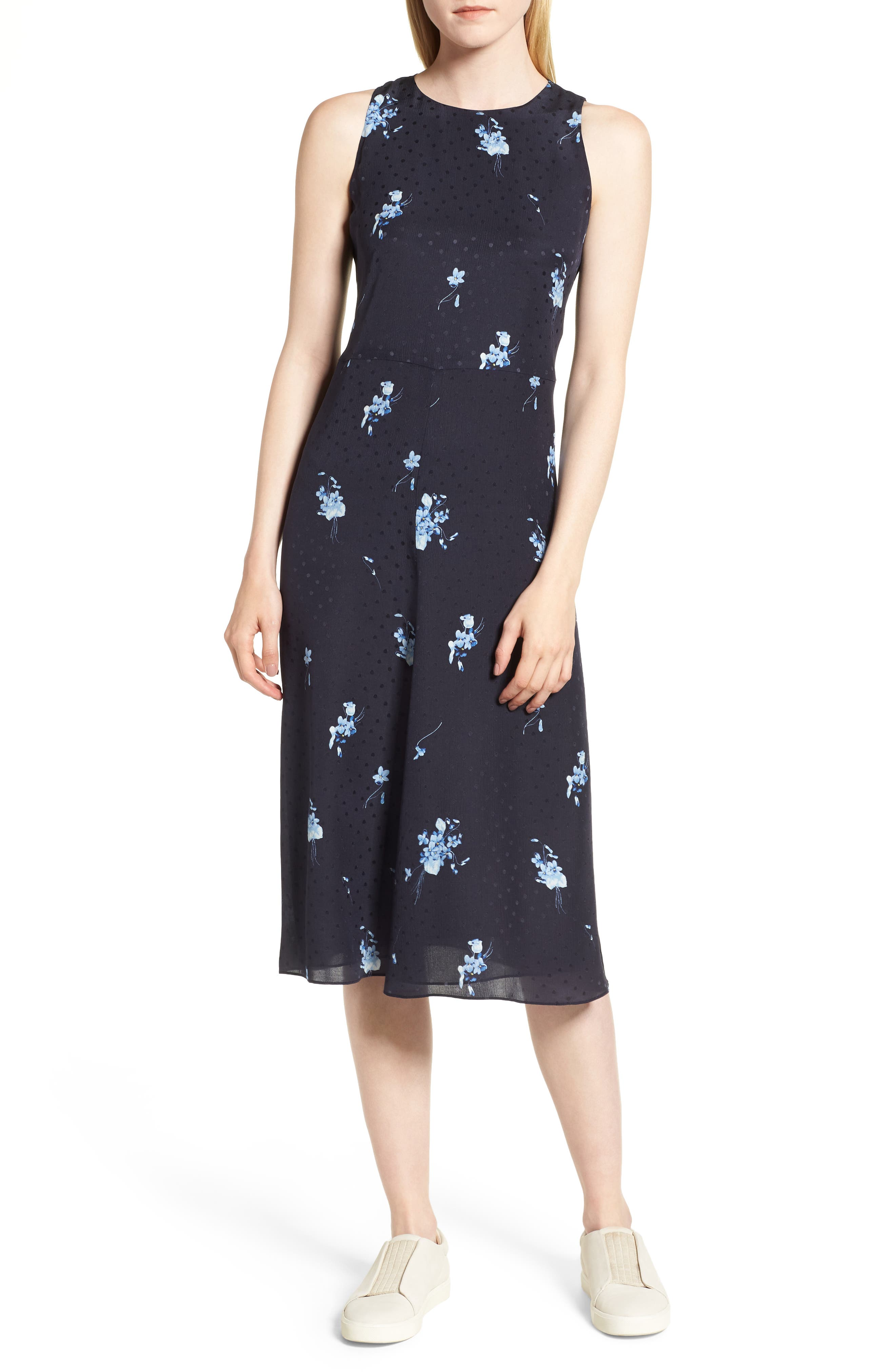 Floral Silk Midi Dress,                             Main thumbnail 1, color,                             410