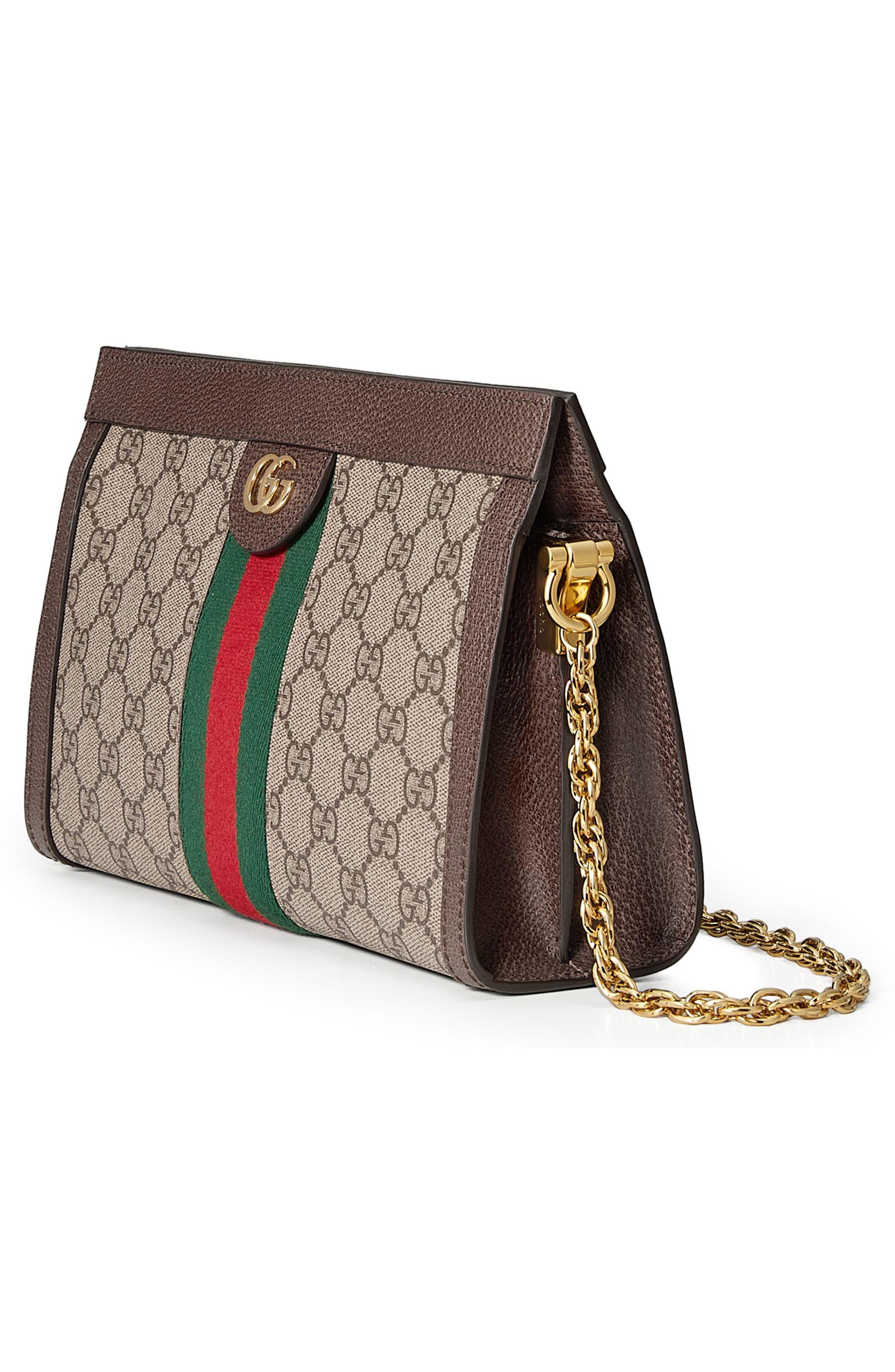 Small GG Supreme Shoulder Bag,                             Alternate thumbnail 4, color,                             BEIGE EBONY/ NERO/ VERT/ RED