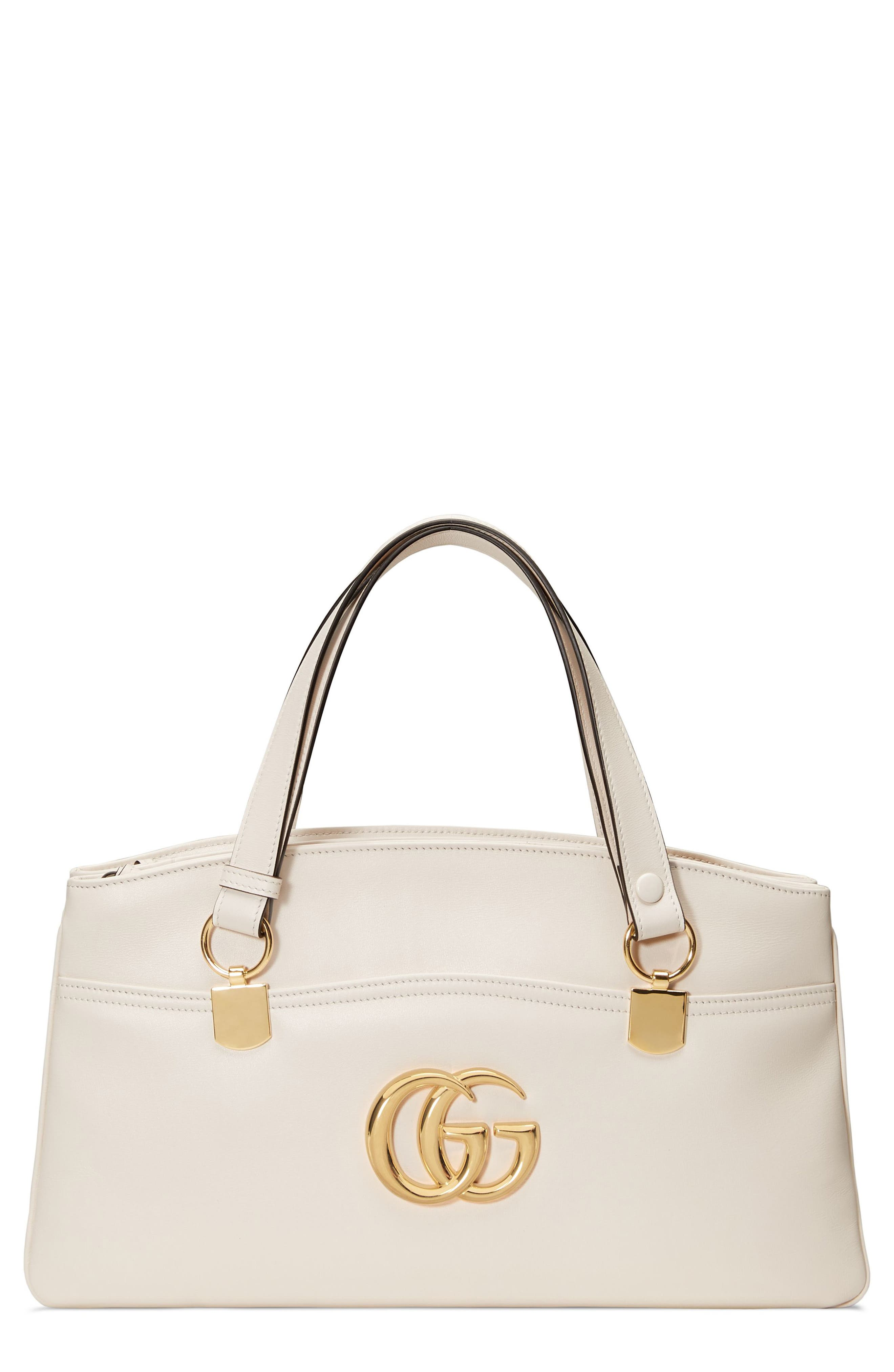 Large Arli Leather Top Handle Bag,                         Main,                         color, MYSTIC WHITE