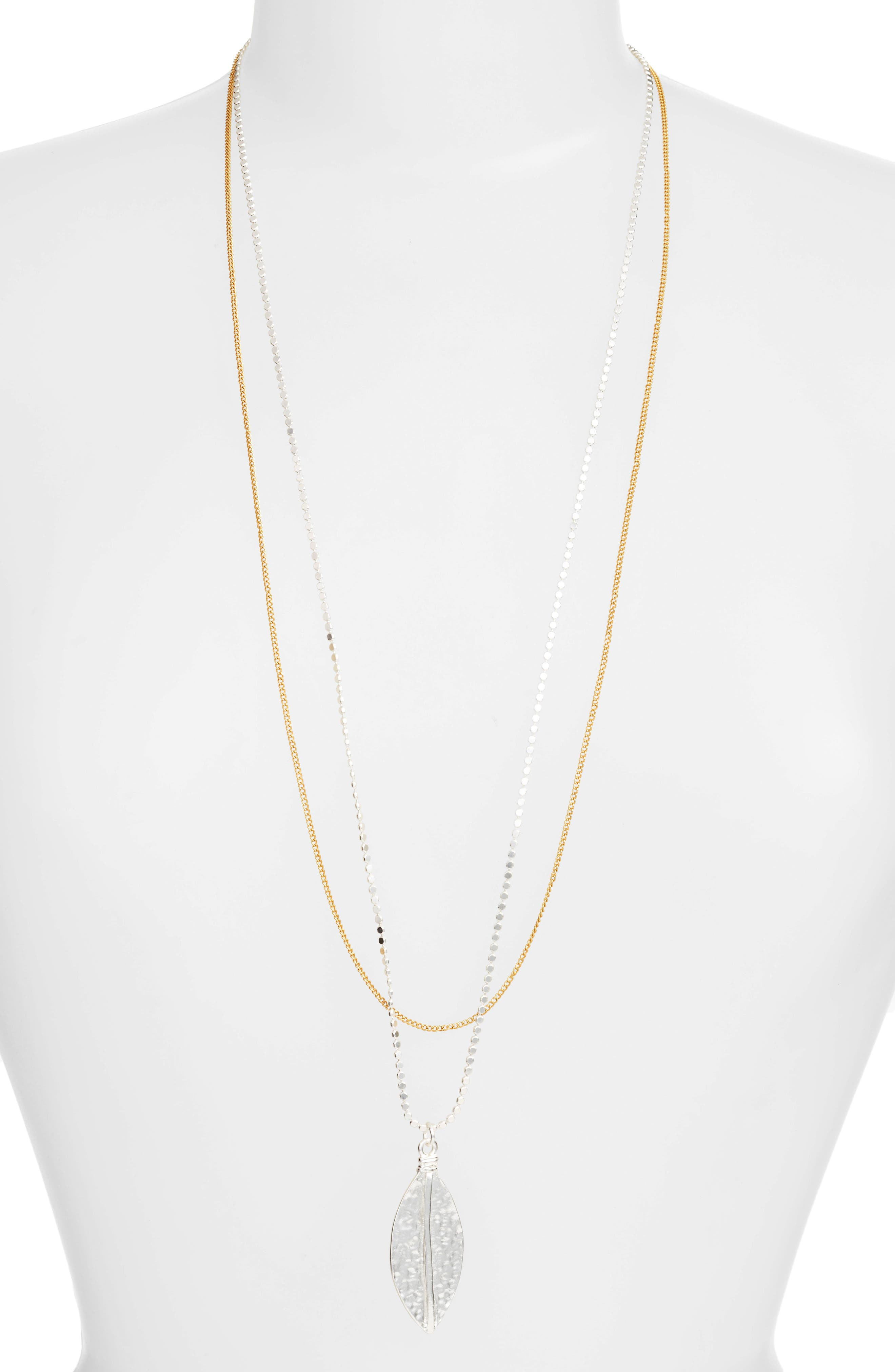 Long Multistrand Necklace,                         Main,                         color, SILVER/GOLD MIX