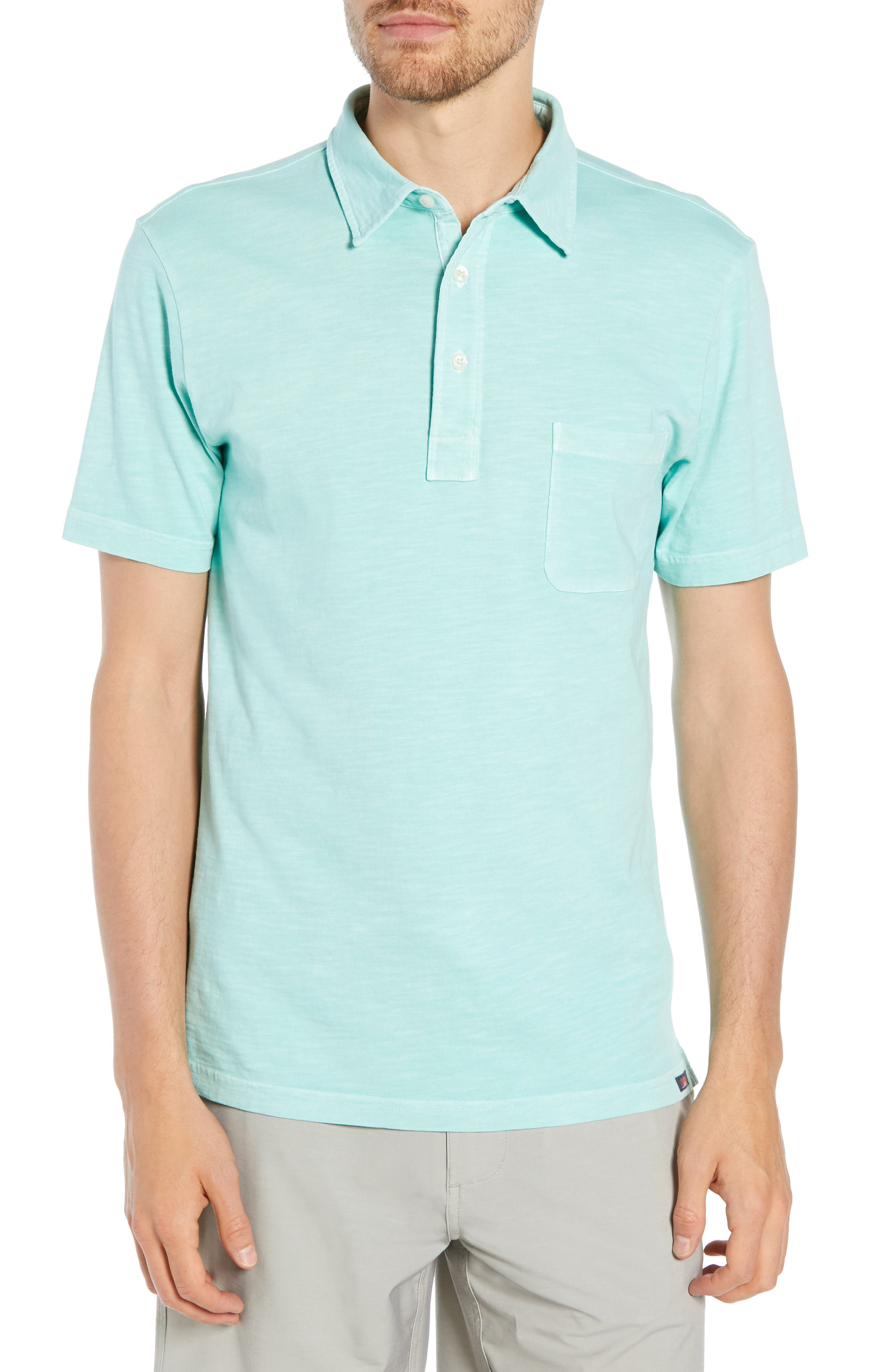 Sunwashed Polo,                         Main,                         color, WATER BLUE
