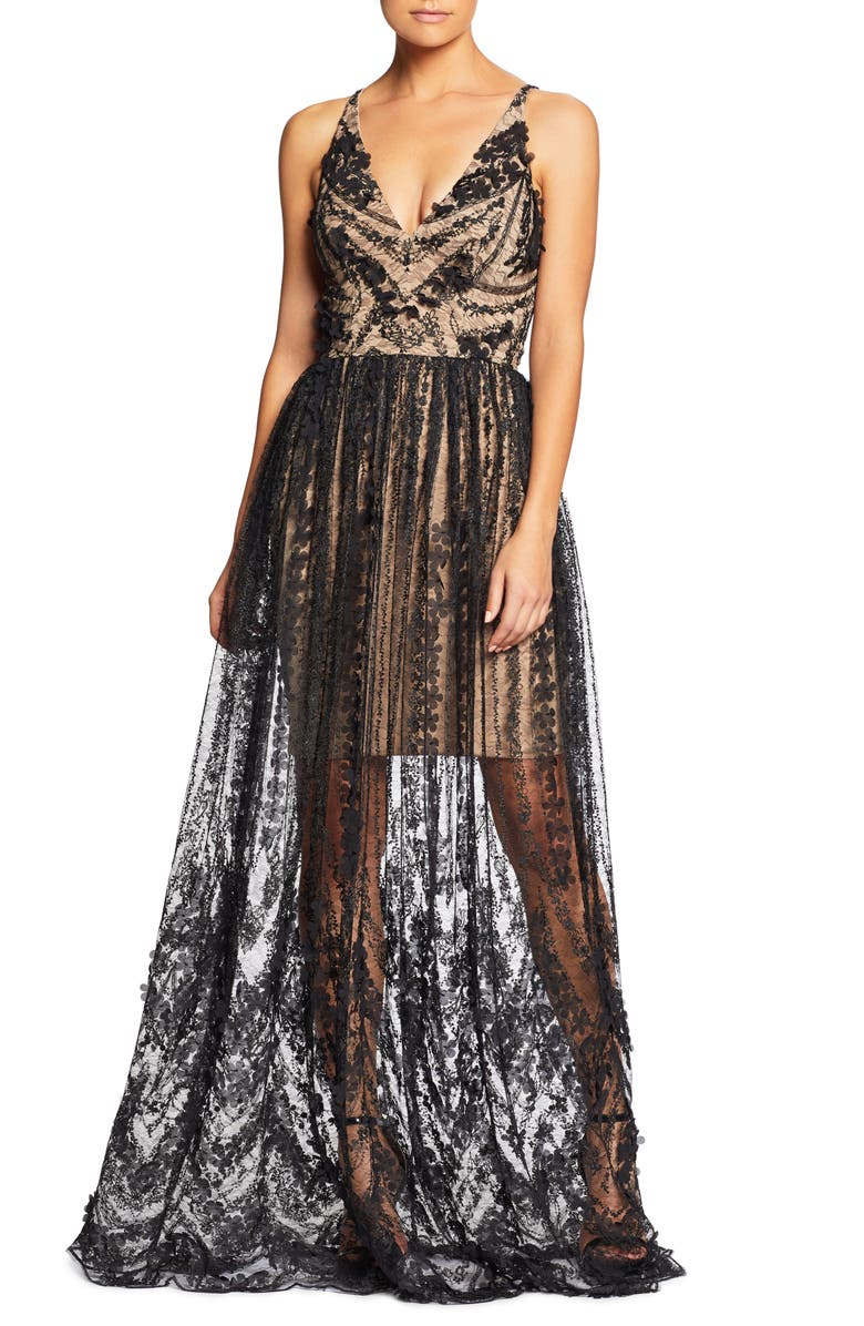 Dress The Population Tops Chelsea Lace A-Line Gown