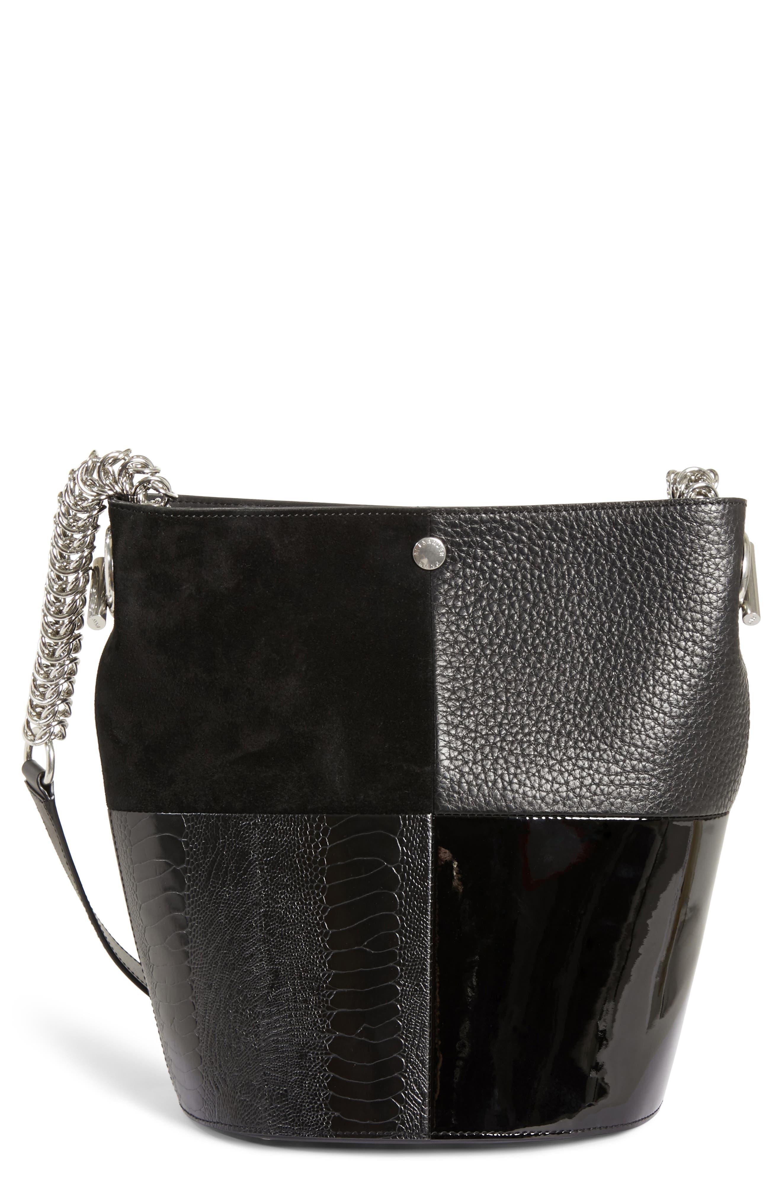 Genesis Patchwork Leather Bucket Bag,                         Main,                         color, BLACK