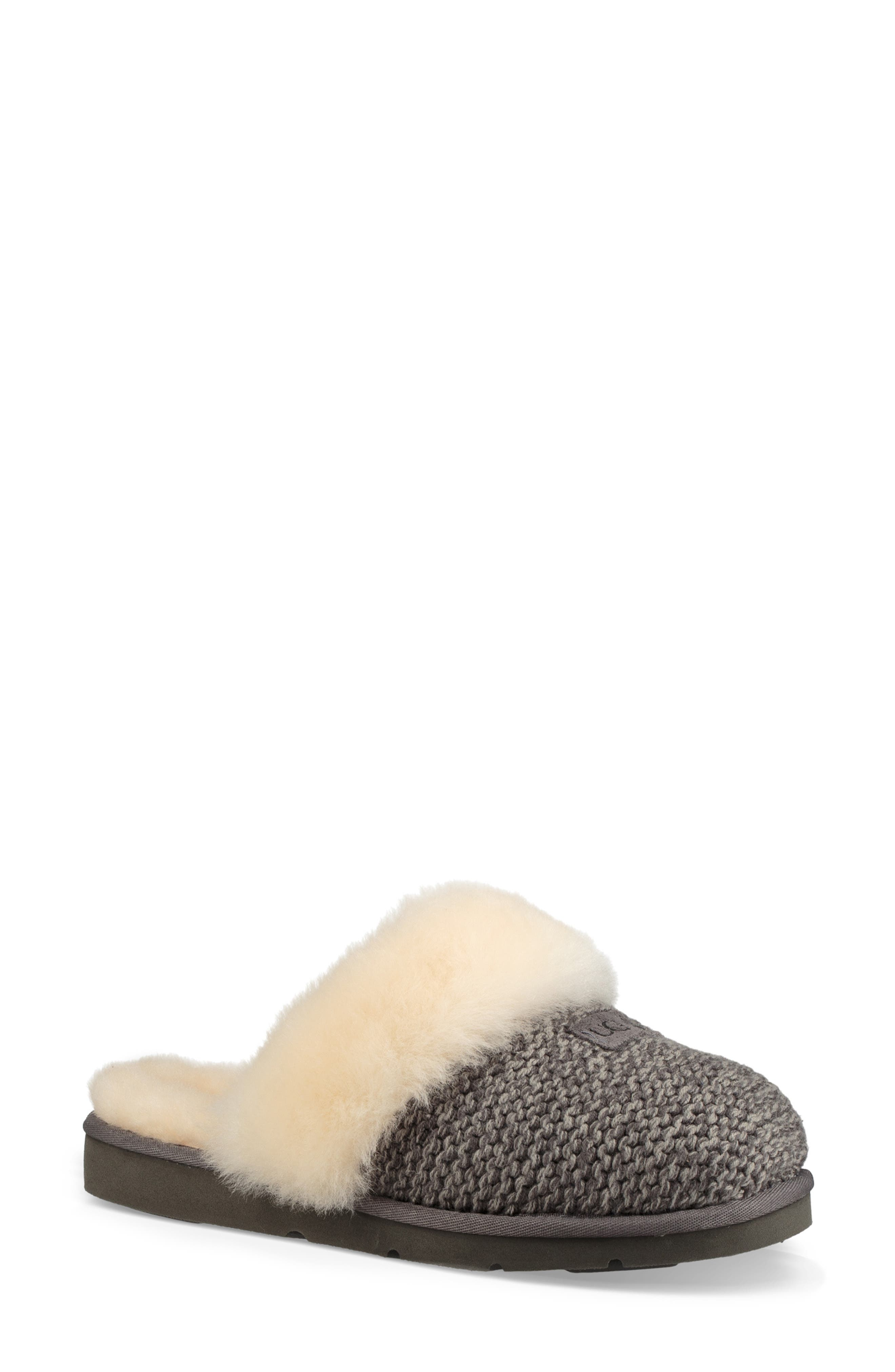Cozy Knit Genuine Shearling Slipper,                             Main thumbnail 1, color,                             CHARCOAL