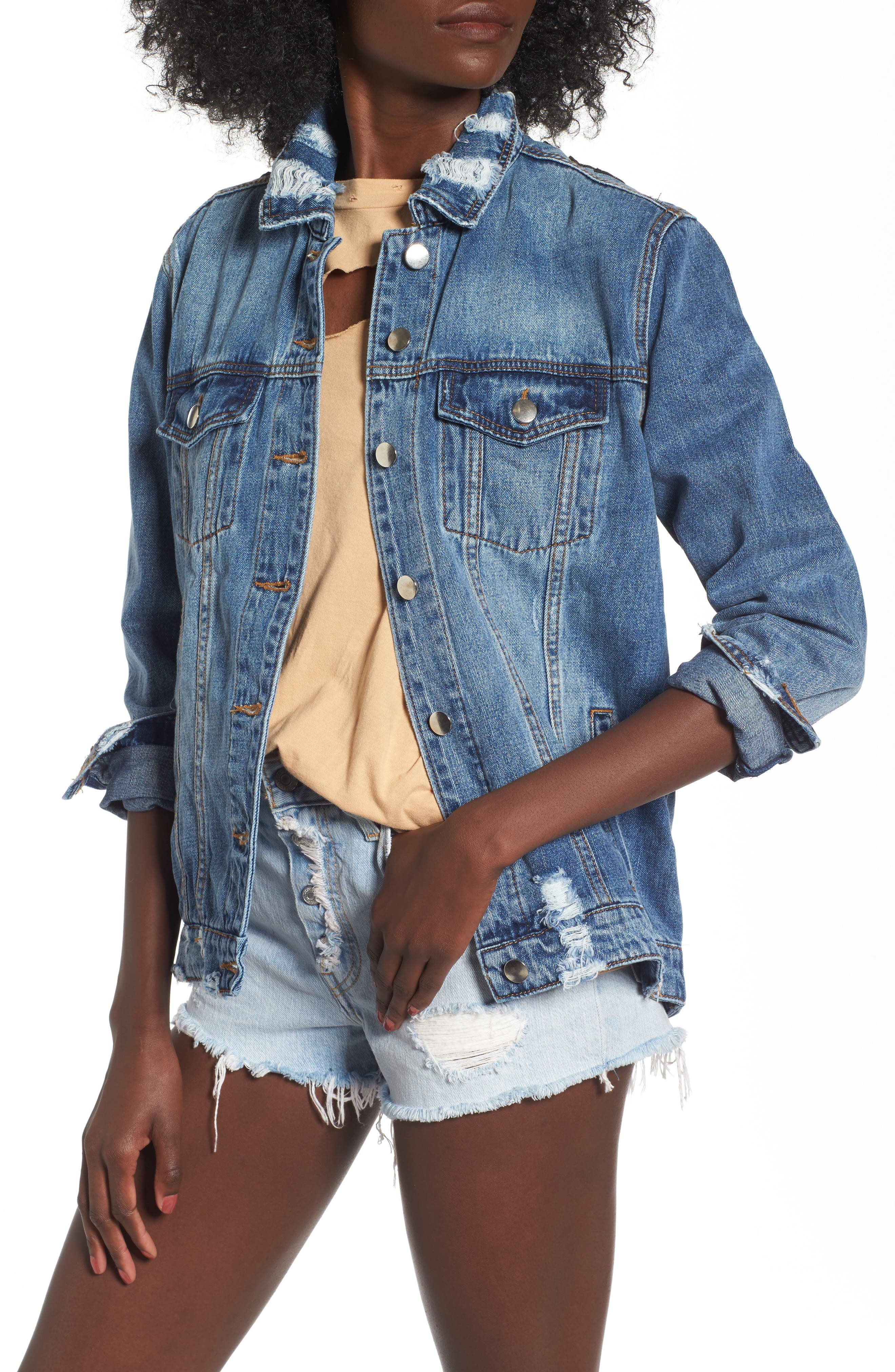 Eloise Embroidered Denim Jacket,                             Main thumbnail 1, color,                             400