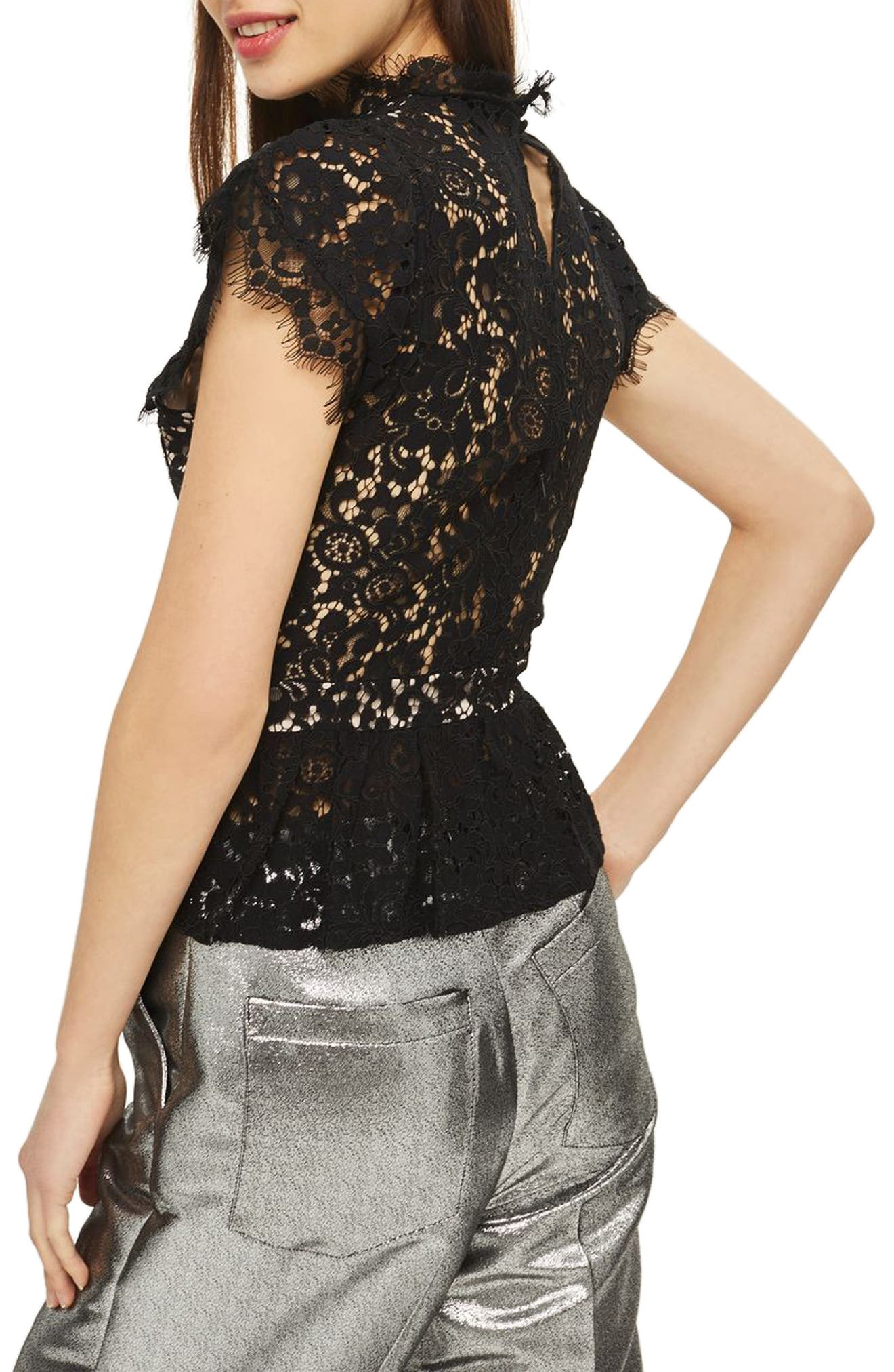 Embellished High Neck Lace Top,                             Alternate thumbnail 2, color,                             001