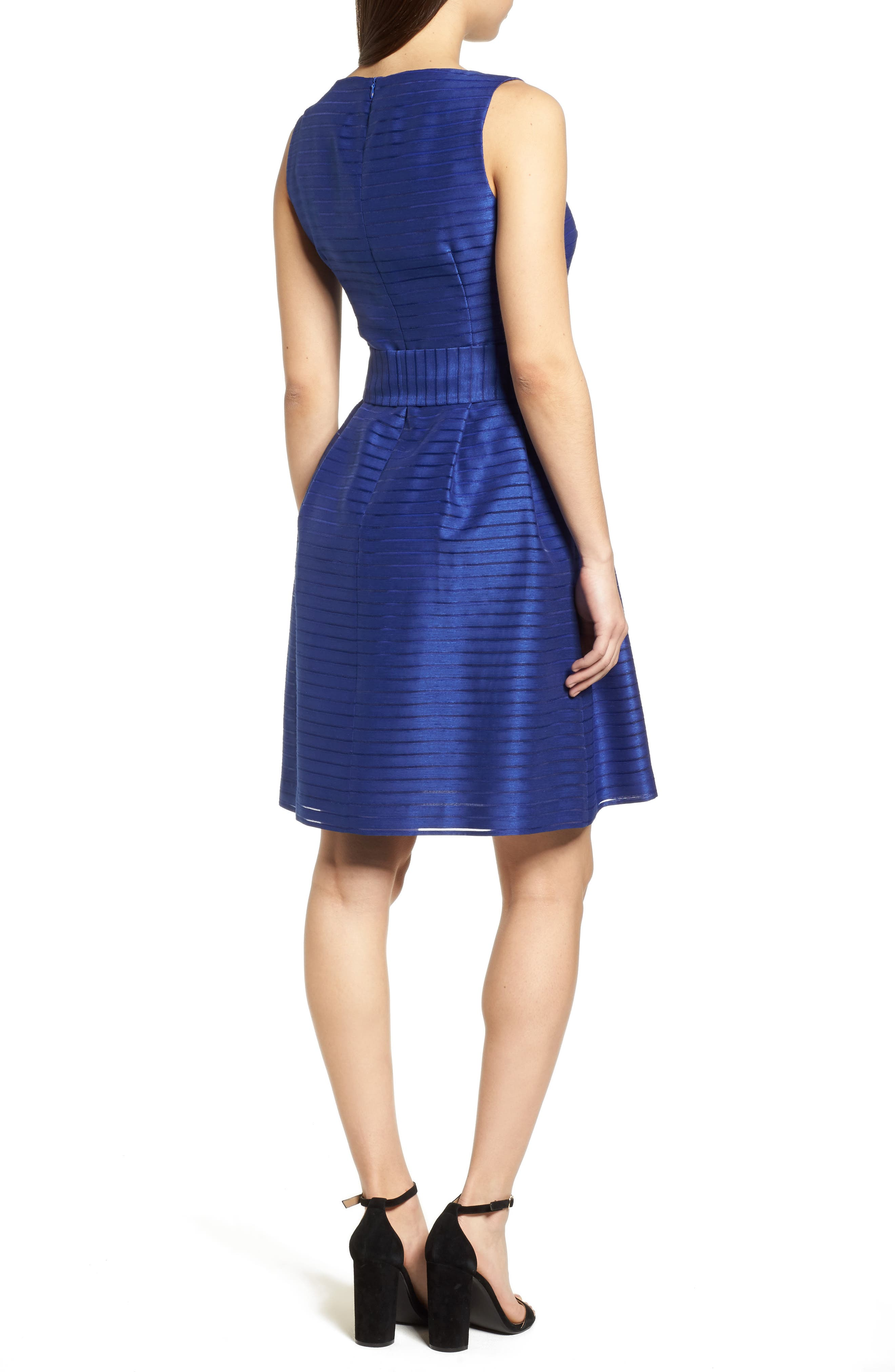 ANNE KLEIN,                             Shadow Stripe Fit & Flare Dress,                             Alternate thumbnail 2, color,                             430