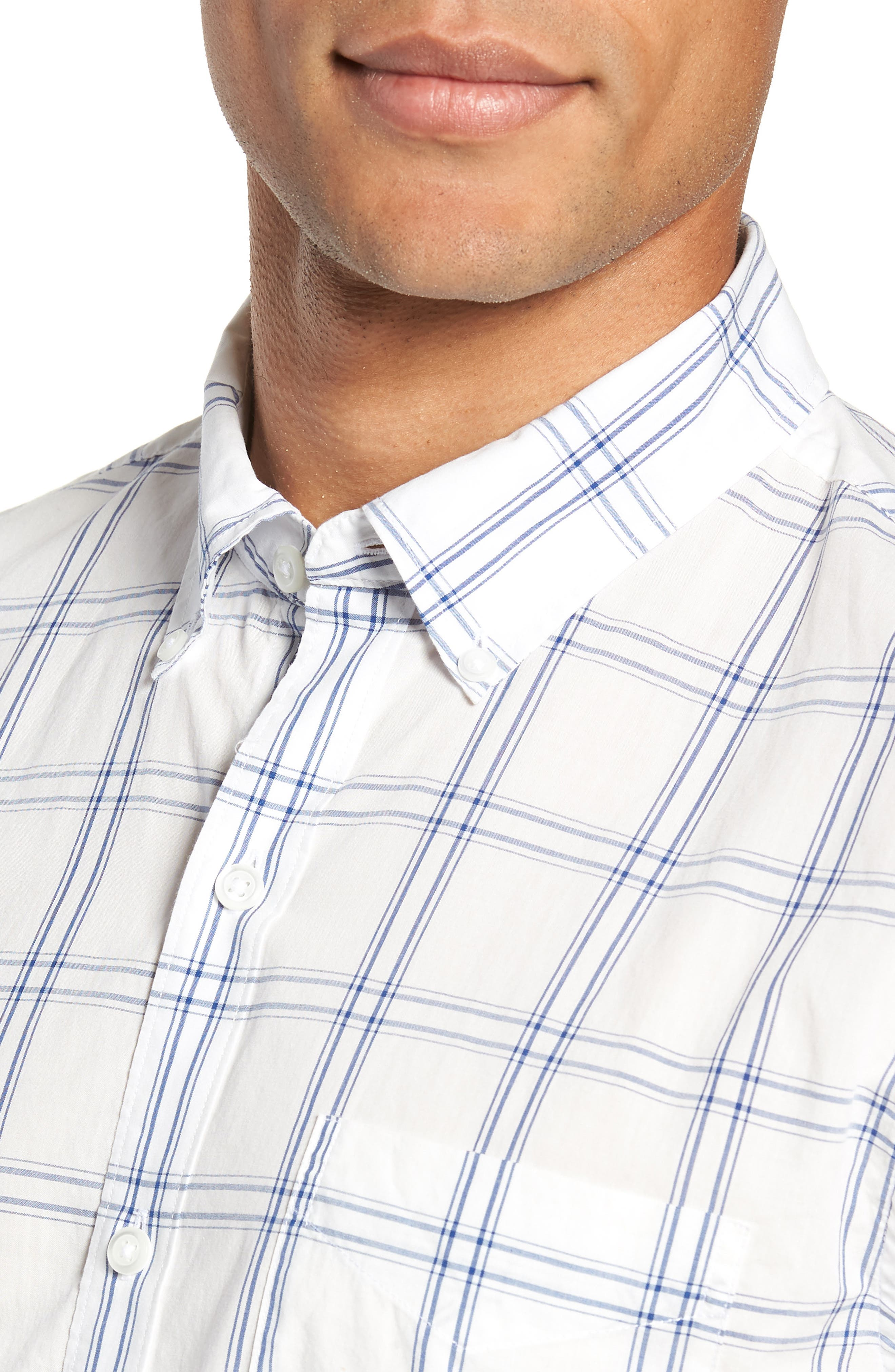 Summerweight Slim Fit Plaid Sport Shirt,                             Alternate thumbnail 2, color,                             100
