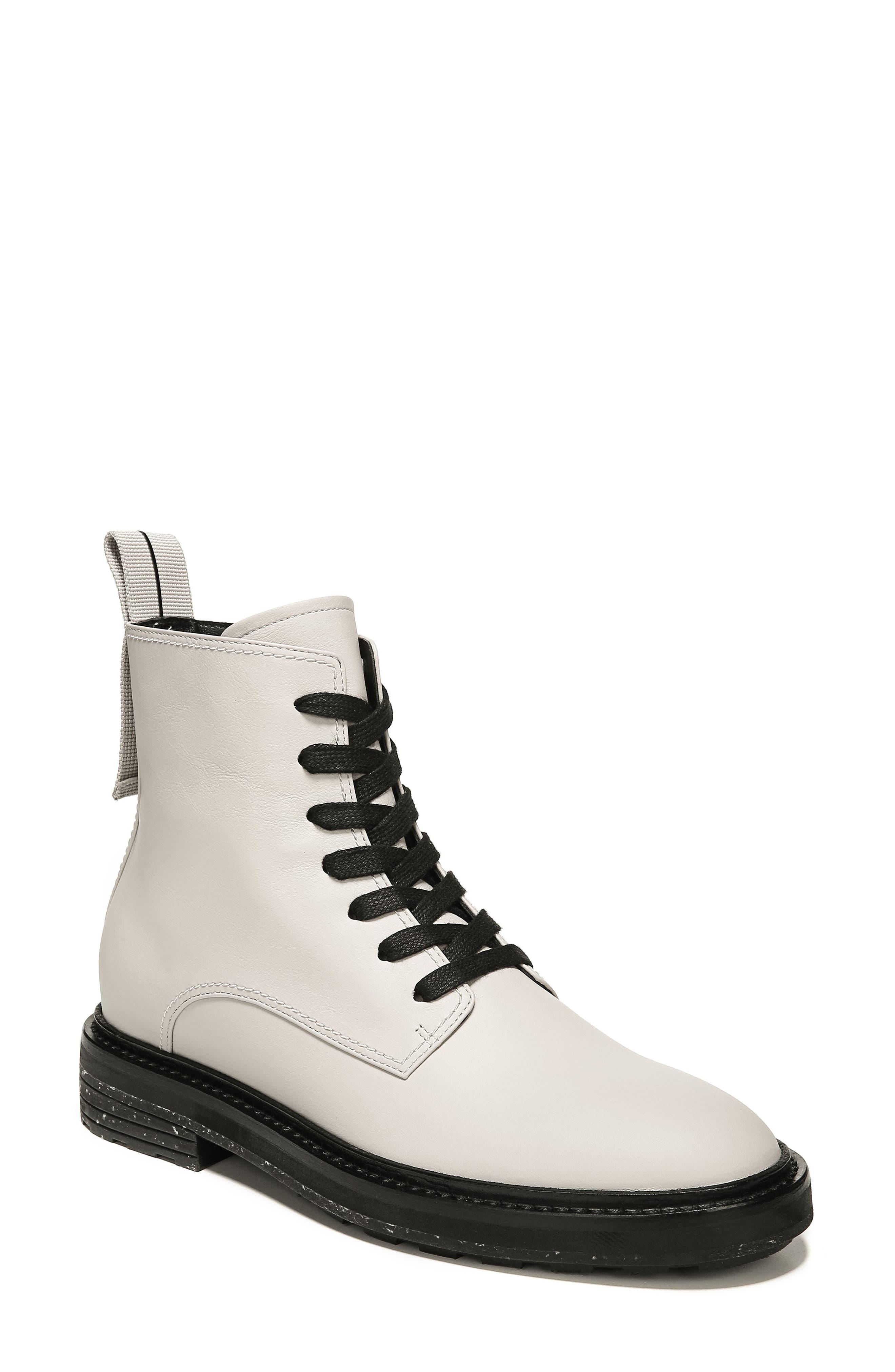VIA SPIGA Women'S Kinley Weather-Resistant Leather Combat Boots in Bone