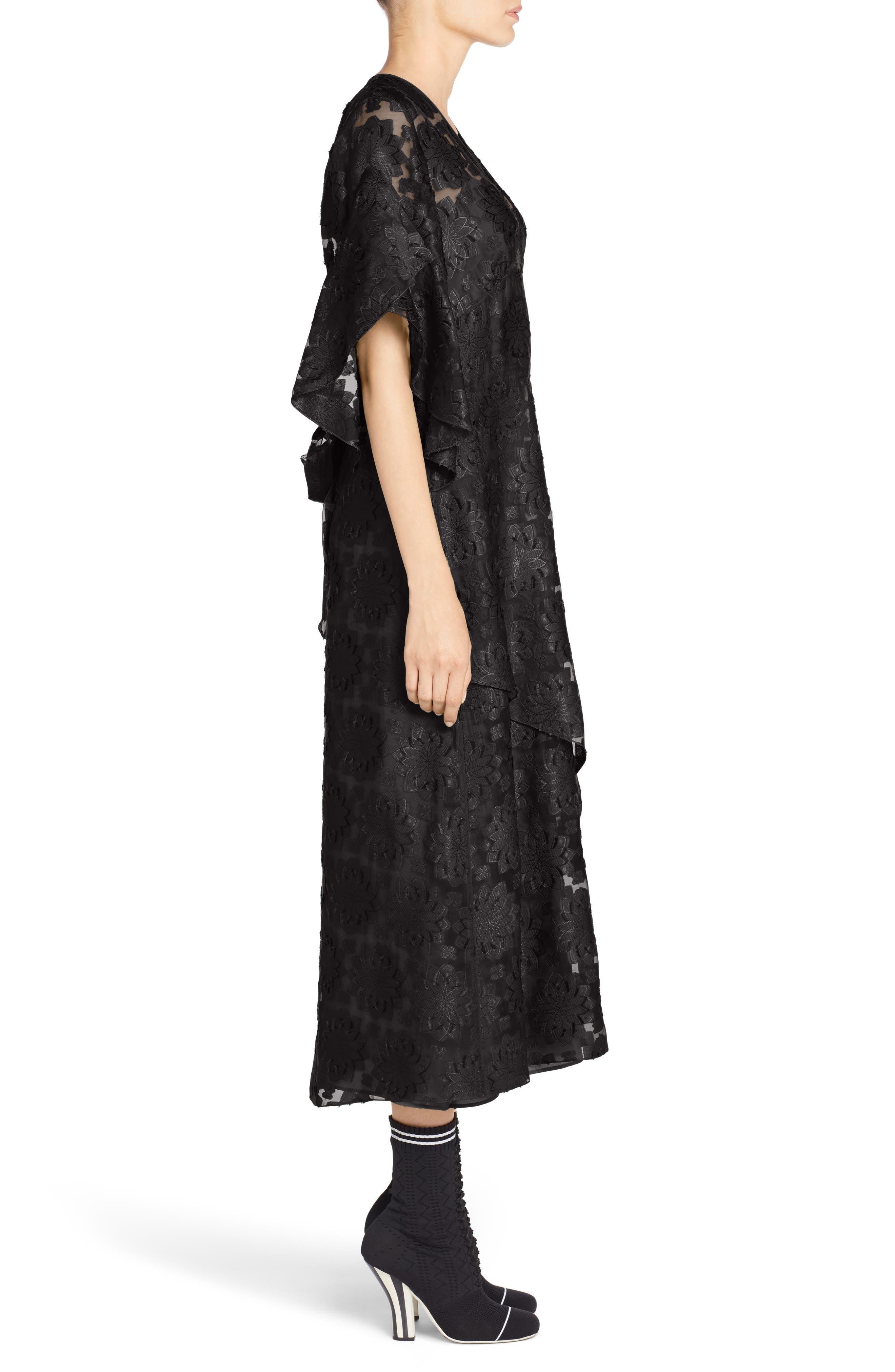 Daisy Fil Coupé Midi Dress,                             Alternate thumbnail 3, color,                             001