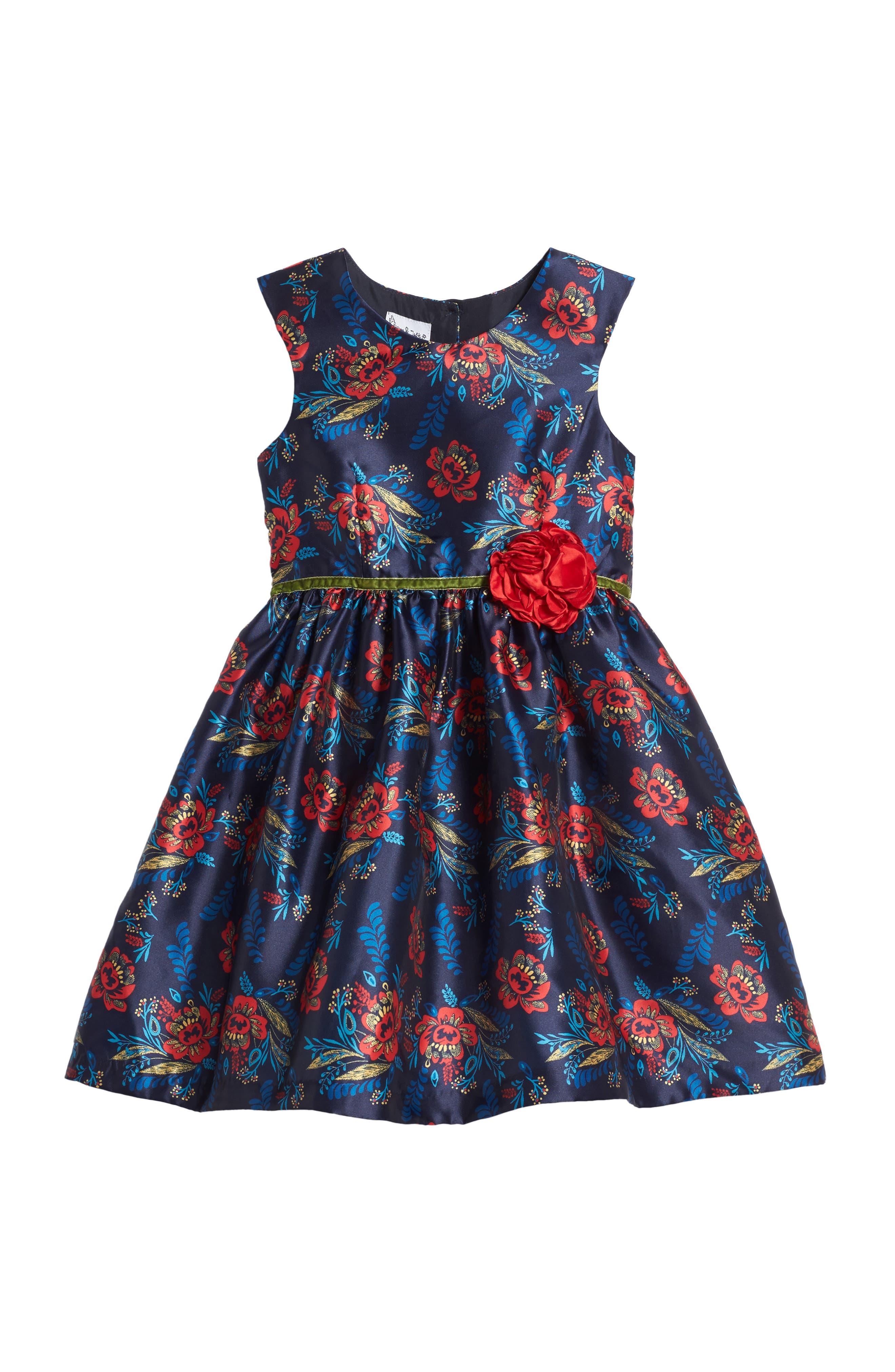 Floral Print Shantung Dress,                             Main thumbnail 1, color,                             415