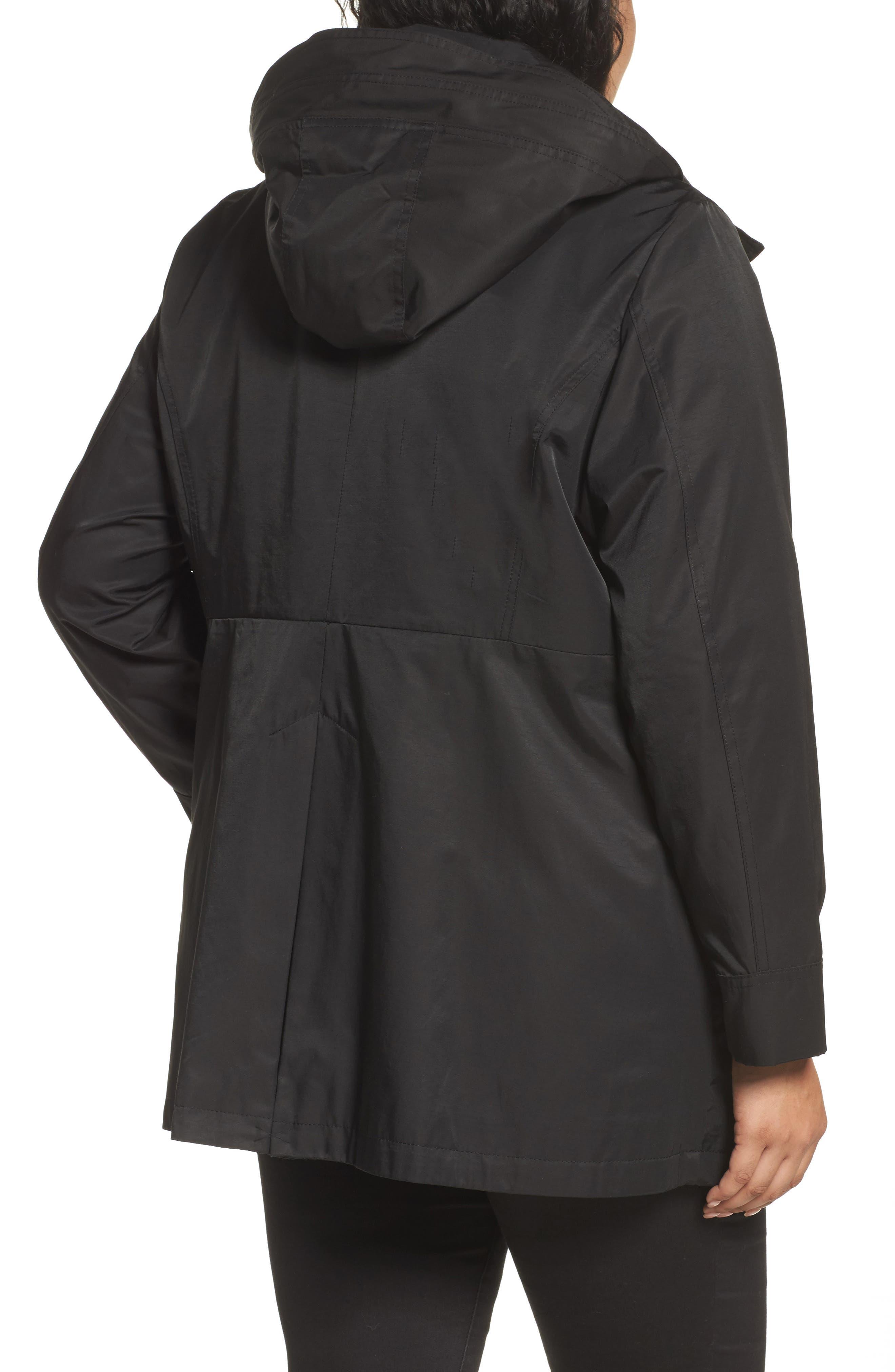 Packable Fit & Flare Raincoat,                             Alternate thumbnail 2, color,                             BLACK