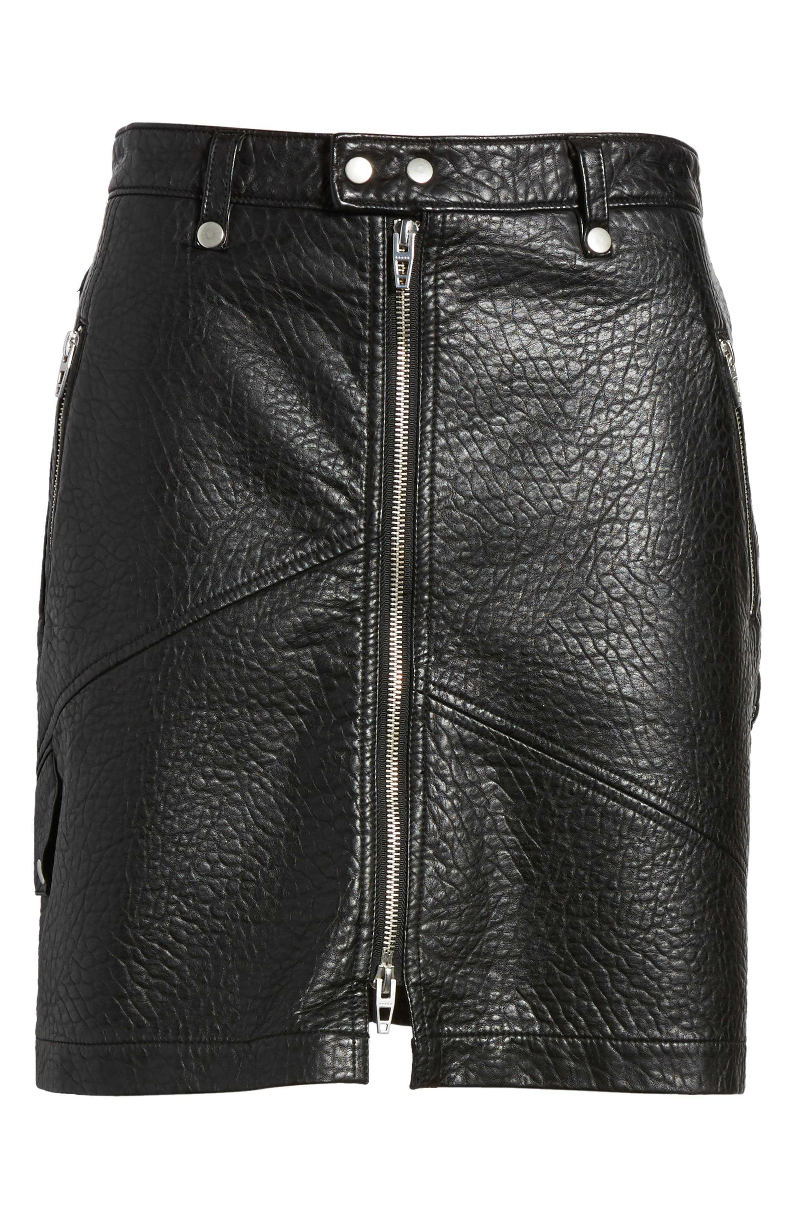 Faux Leather Moto Skirt,                             Alternate thumbnail 6, color,                             001