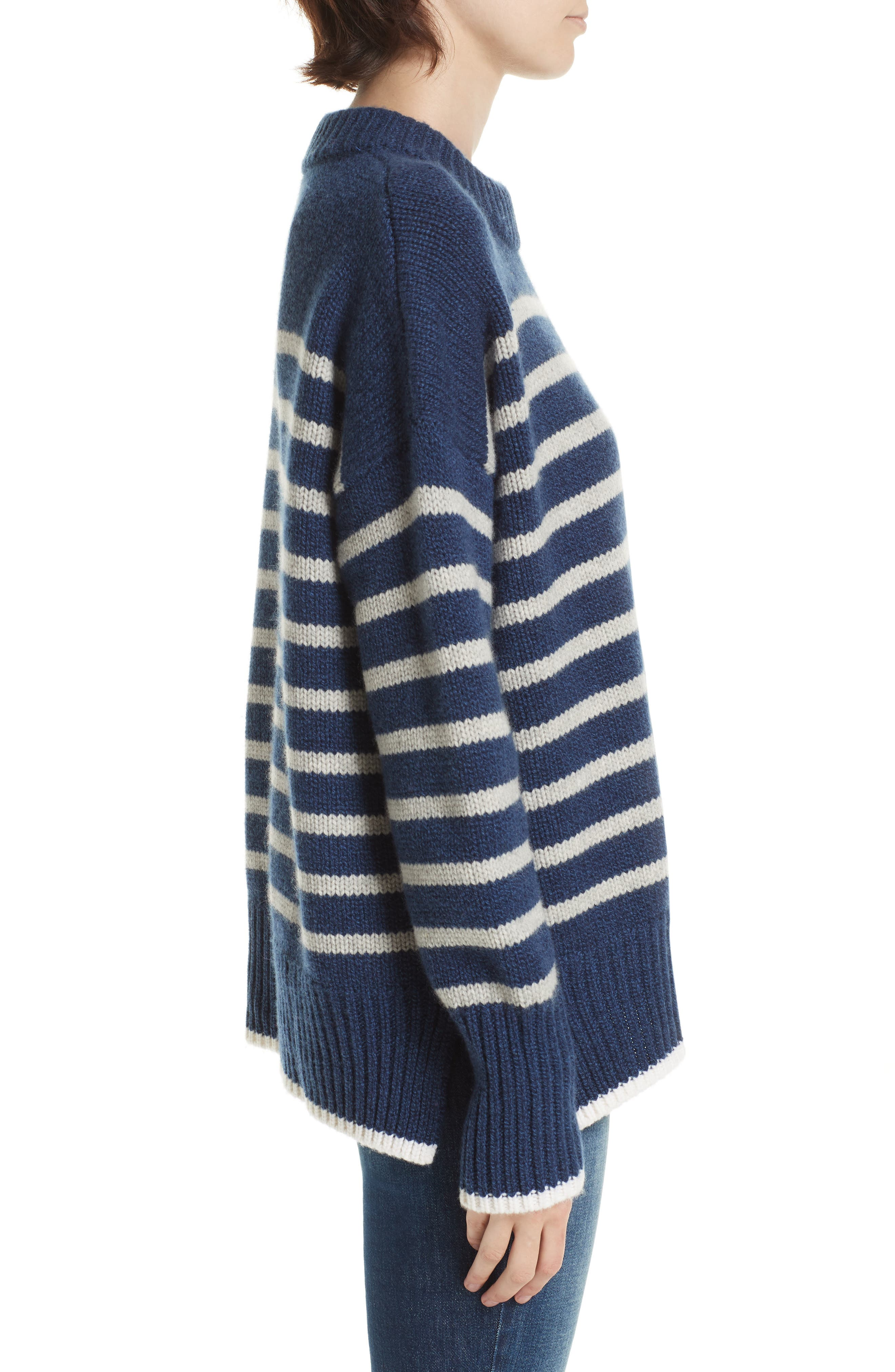 Marin Stripe Cashmere & Wool Sweater,                             Alternate thumbnail 3, color,                             BLUE MARLE/ GREY MARLE/ CREAM