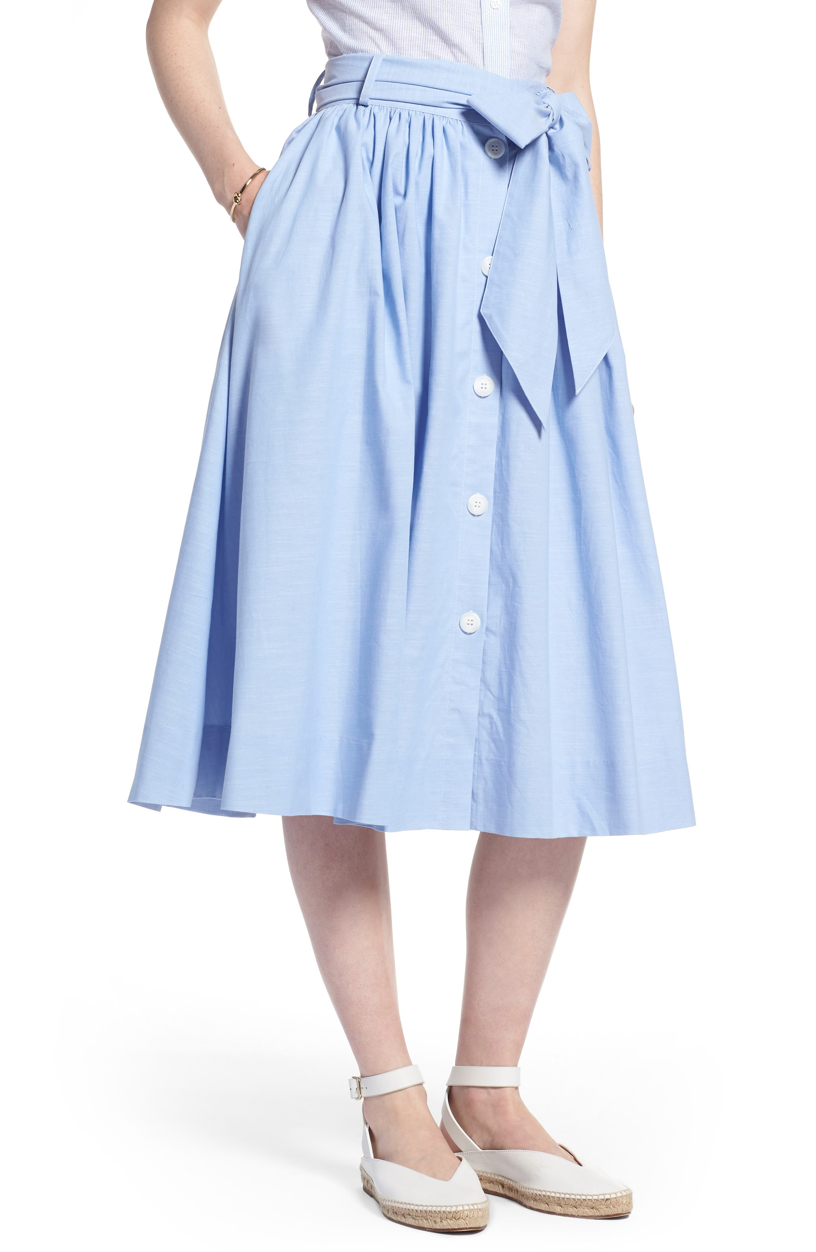 1901 Bow Tie Chambray Skirt, Main, color, 420
