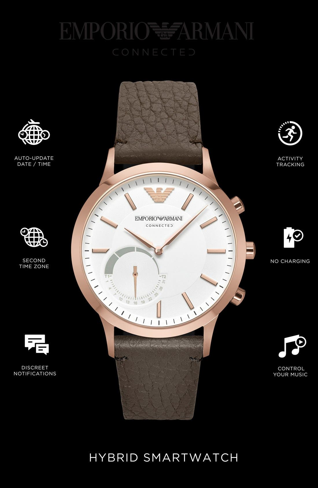 Leather Strap Hybrid Smart Watch, 43mm,                             Alternate thumbnail 14, color,