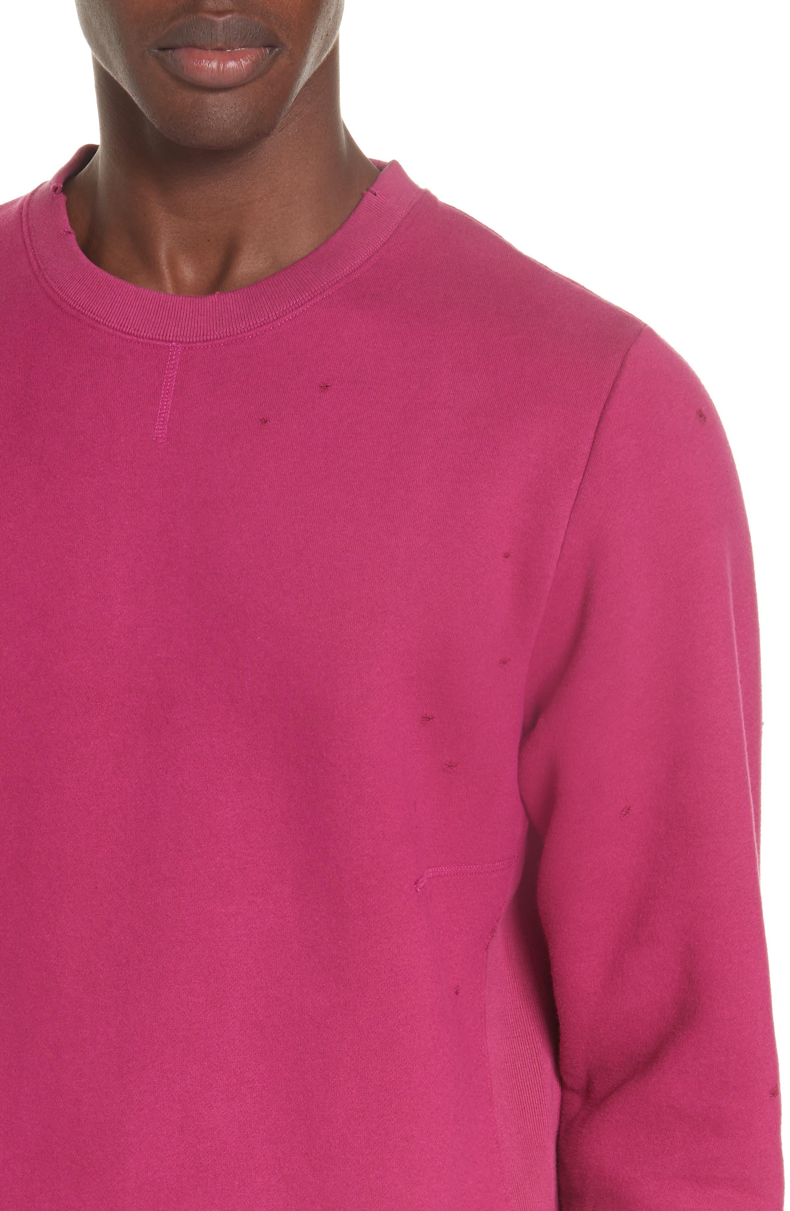 Distressed Crewneck Sweatshirt,                             Alternate thumbnail 4, color,                             RASBERRY