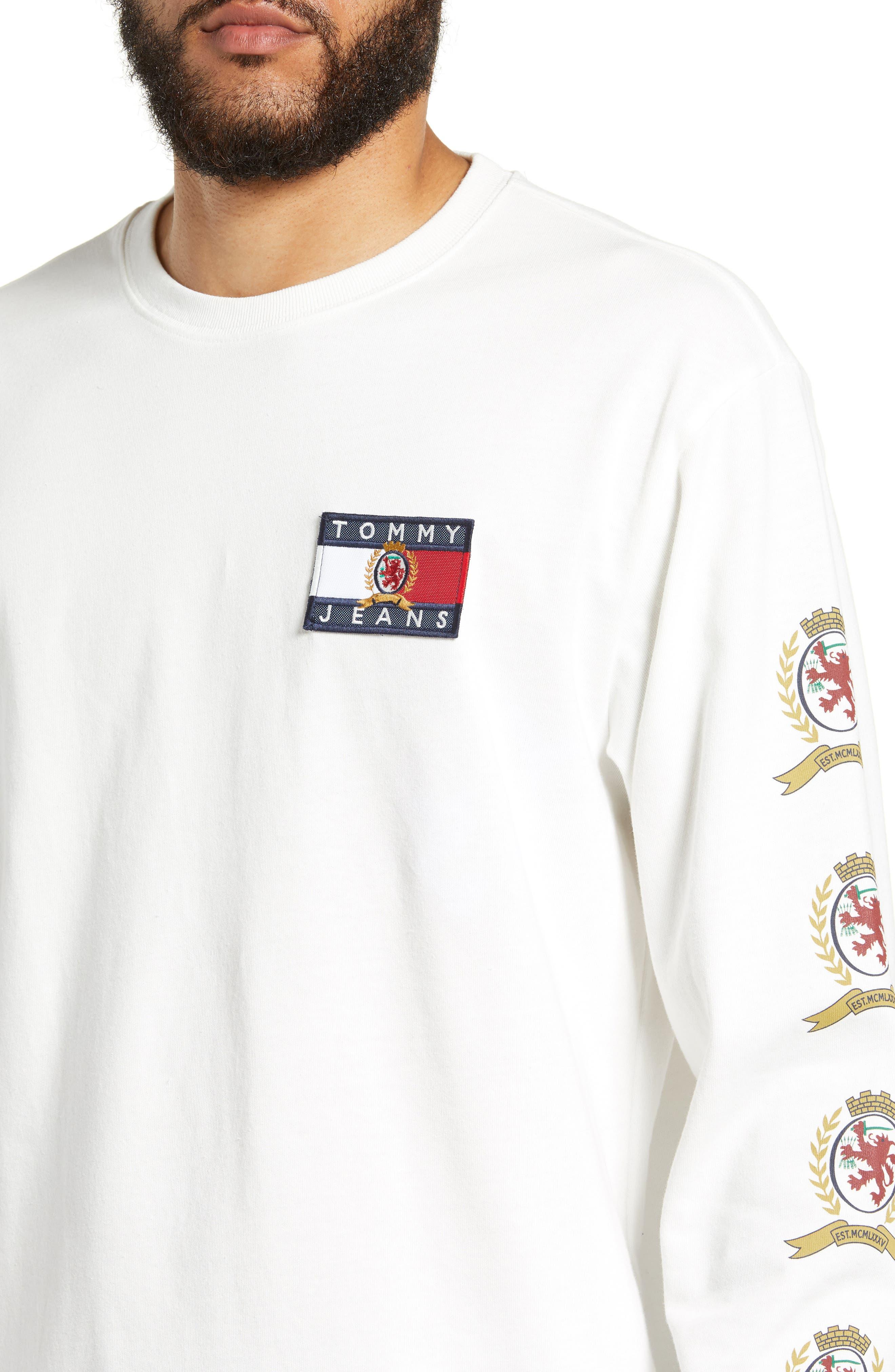 Crest Logo Long Sleeve T-Shirt,                             Alternate thumbnail 4, color,                             CLOUD DANCER