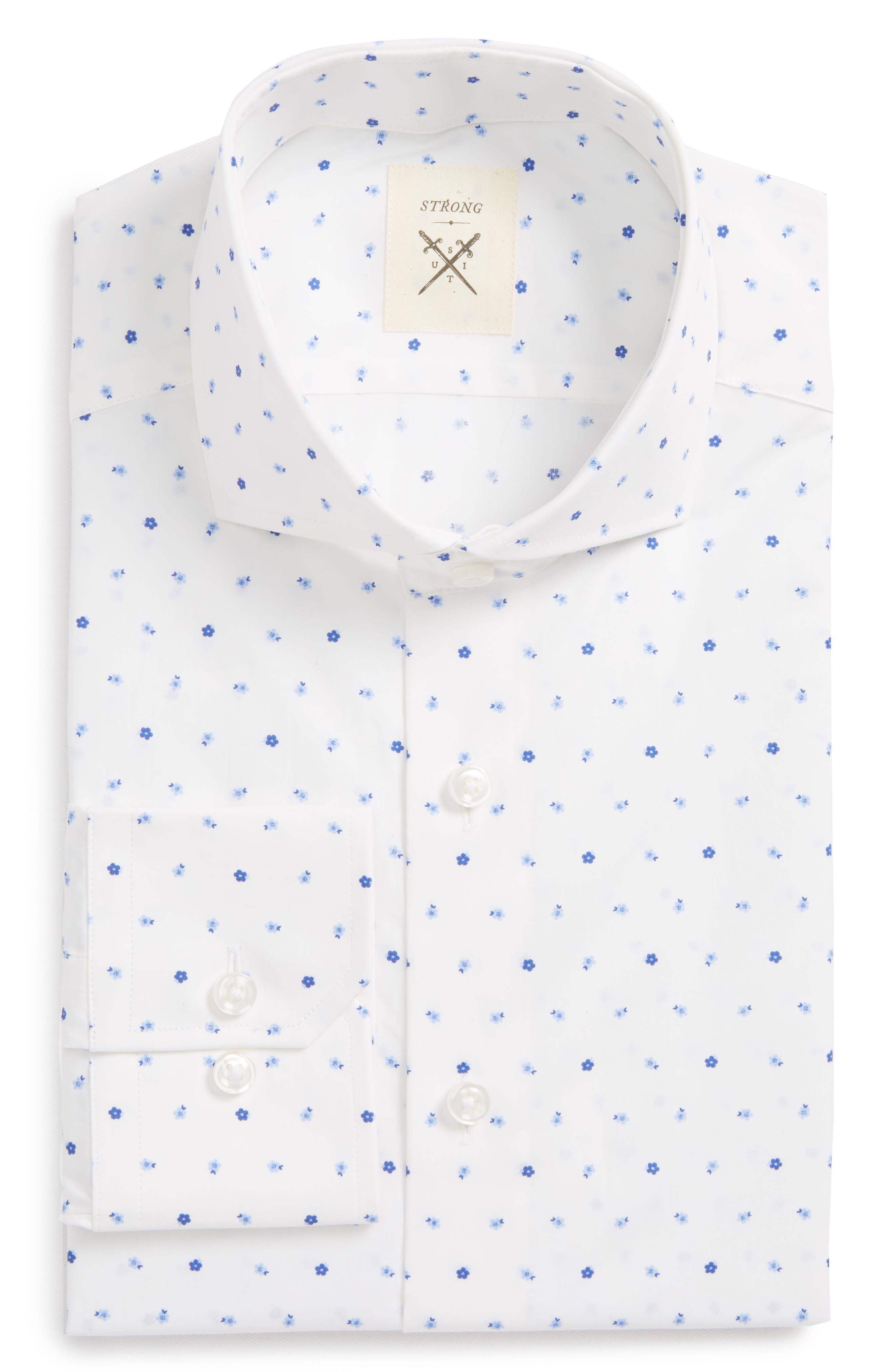 Trim Fit Floral Dress Shirt,                         Main,                         color, 420