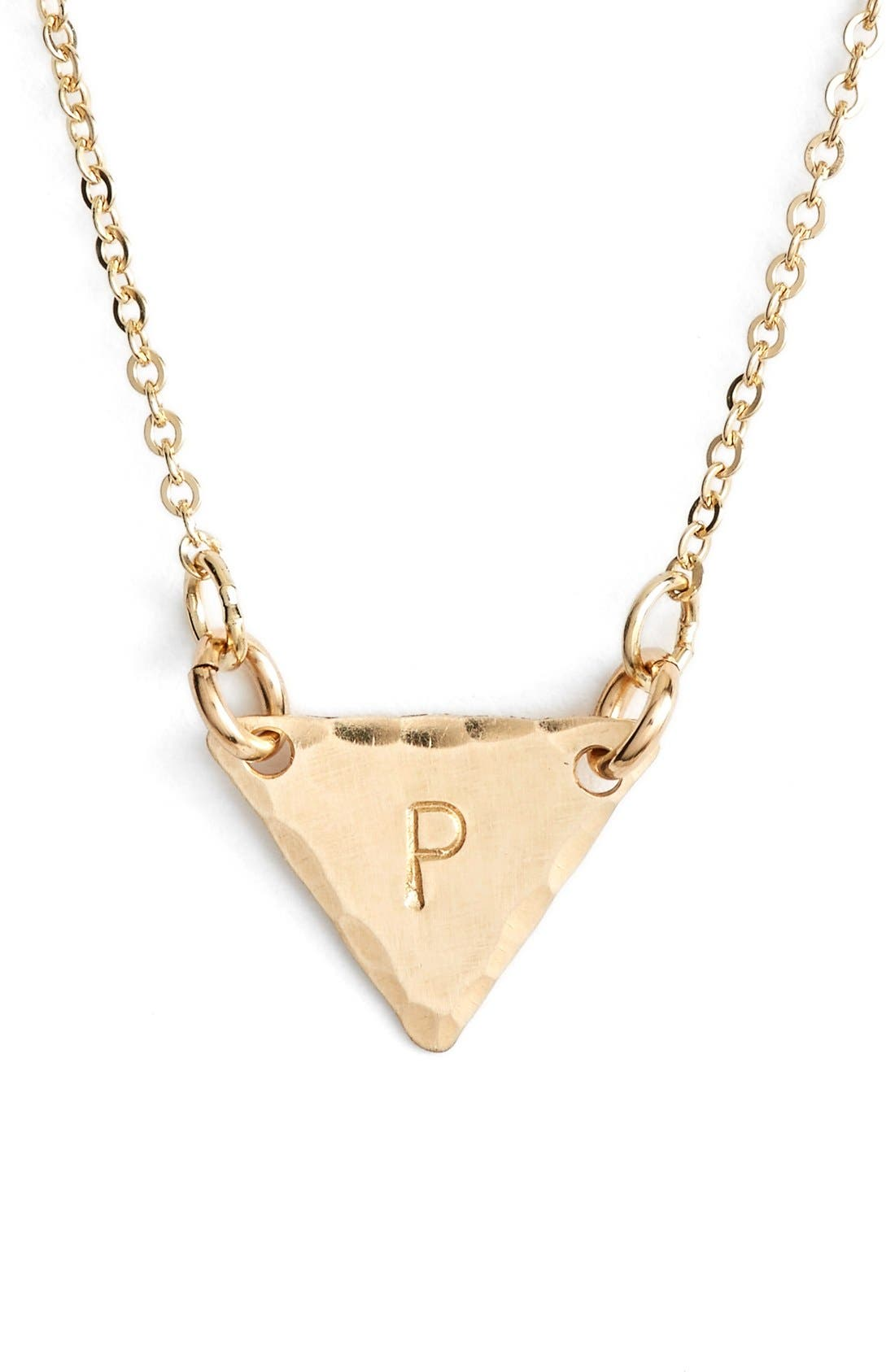 14k-Gold Fill Initial Triangle Necklace,                             Main thumbnail 16, color,