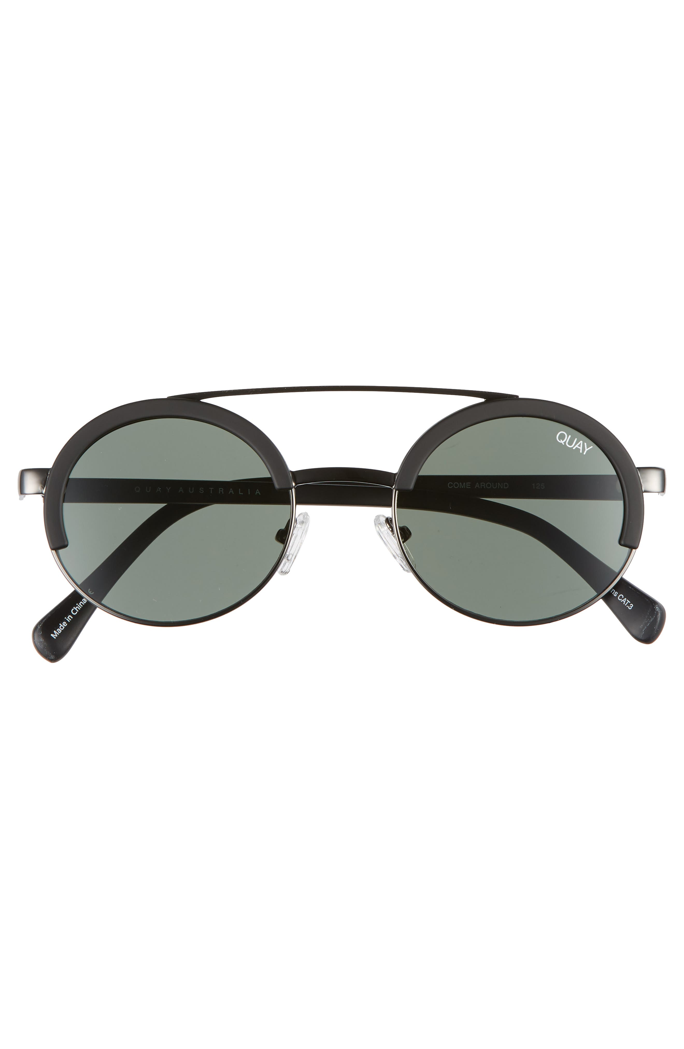 Come Around 52mm Round Sunglasses,                             Alternate thumbnail 3, color,                             BLACK/ GREEN
