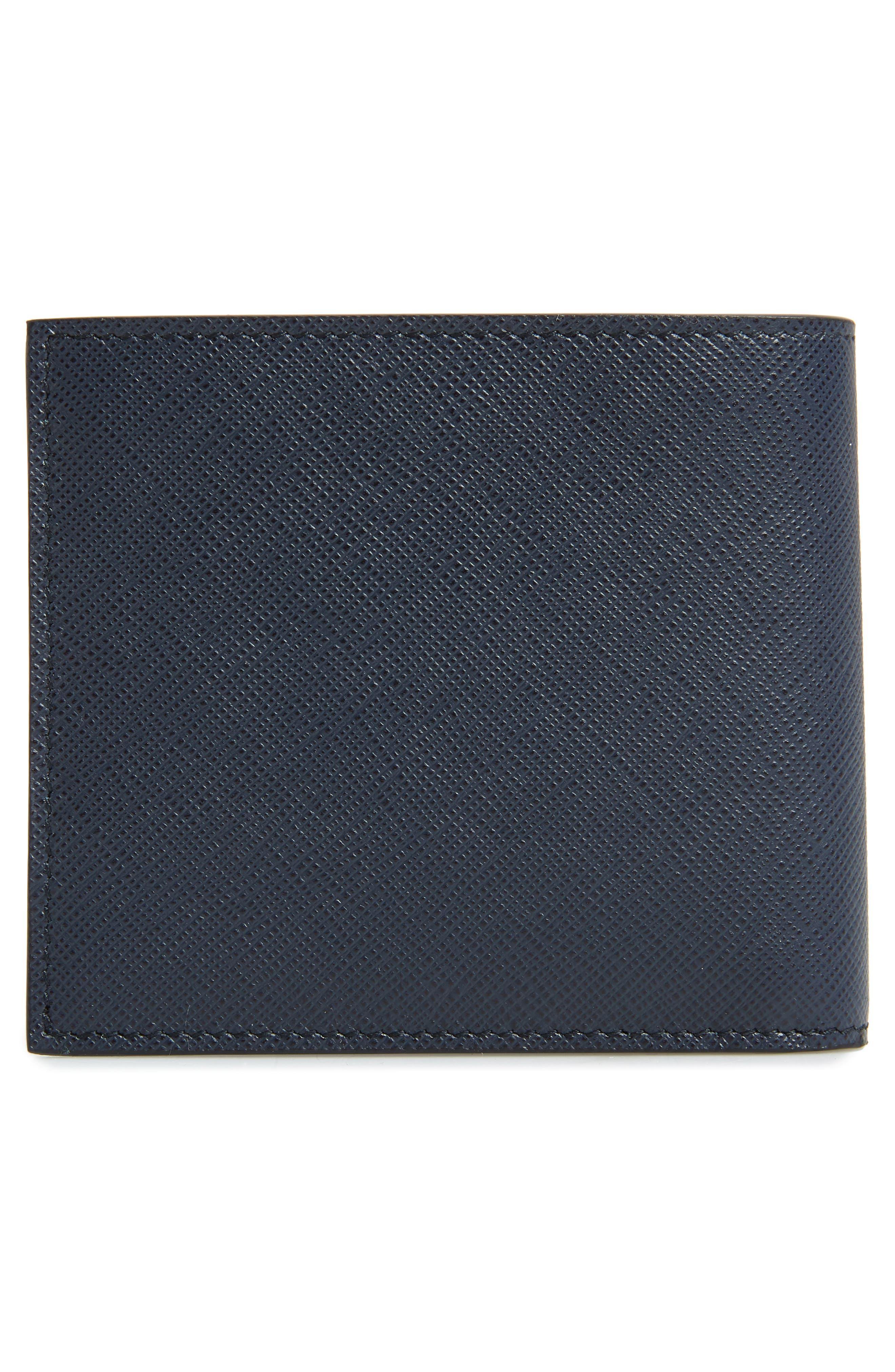 Bicolor Leather Wallet,                             Alternate thumbnail 3, color,                             BLUE