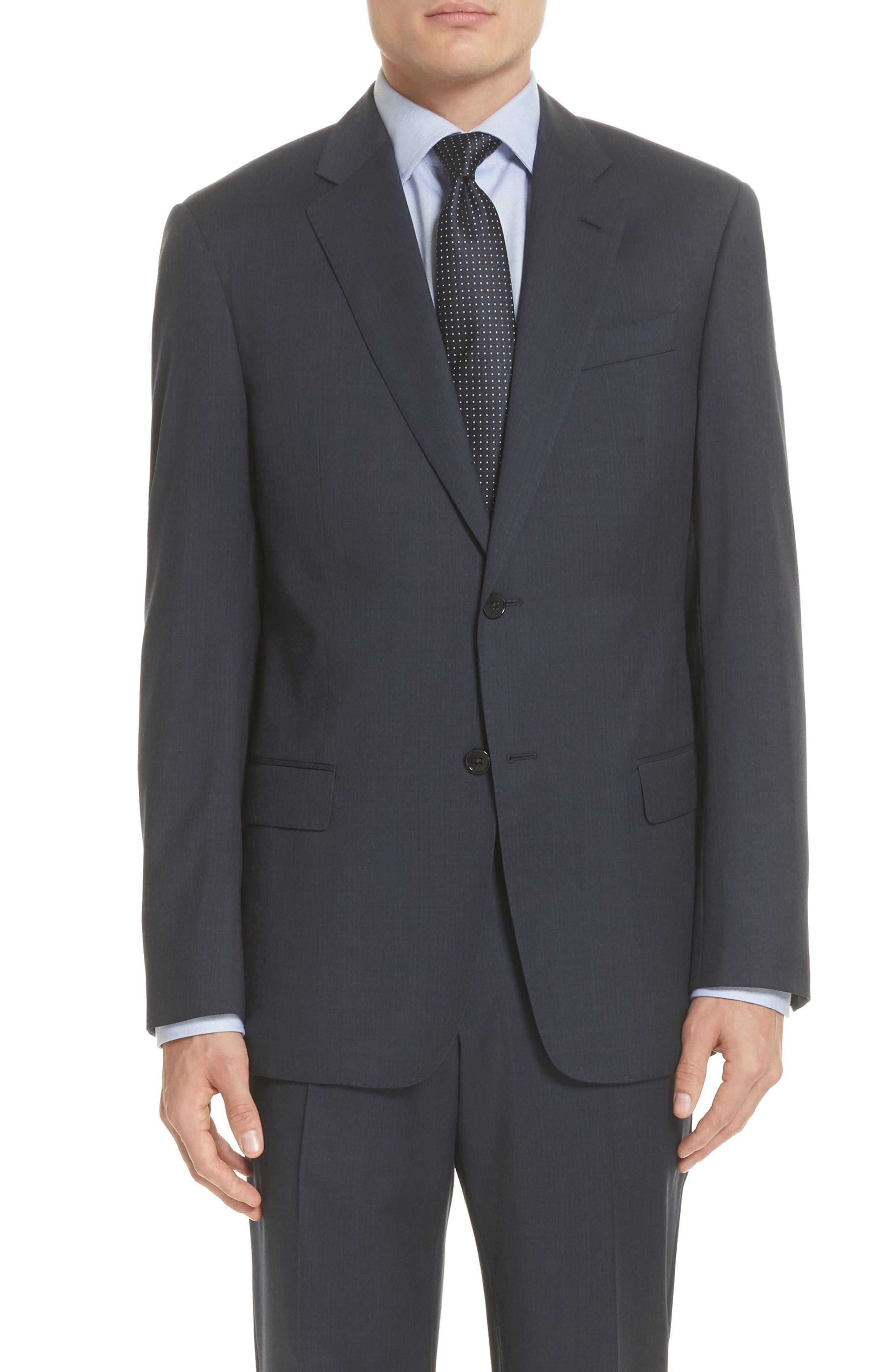 Trim Fit Sharkskin Wool Suit,                             Alternate thumbnail 10, color,