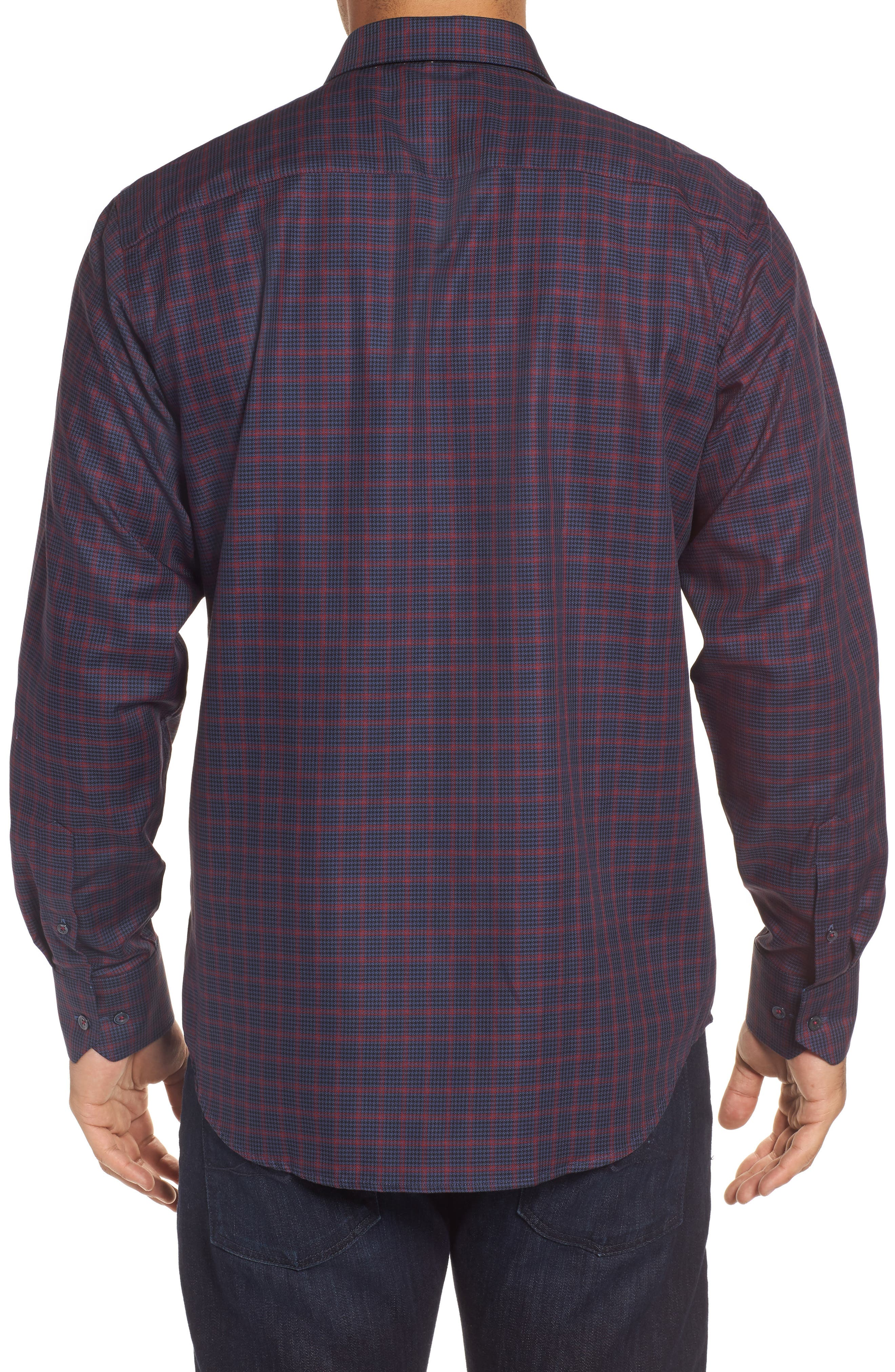 Classic Fit Houndstooth Check Sport Shirt,                             Alternate thumbnail 2, color,