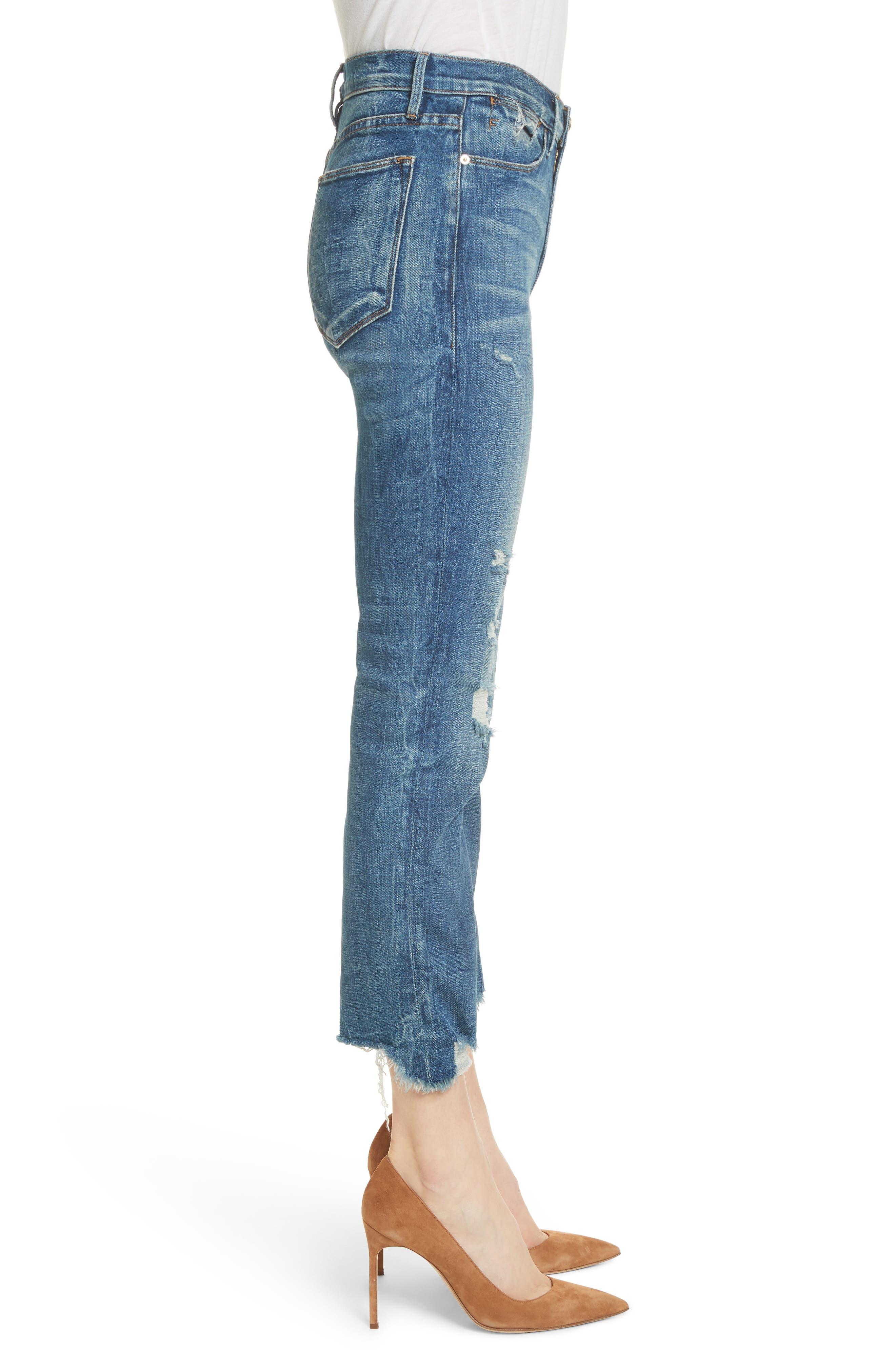 Le High Raw Edge Straight Jeans,                             Alternate thumbnail 3, color,                             401