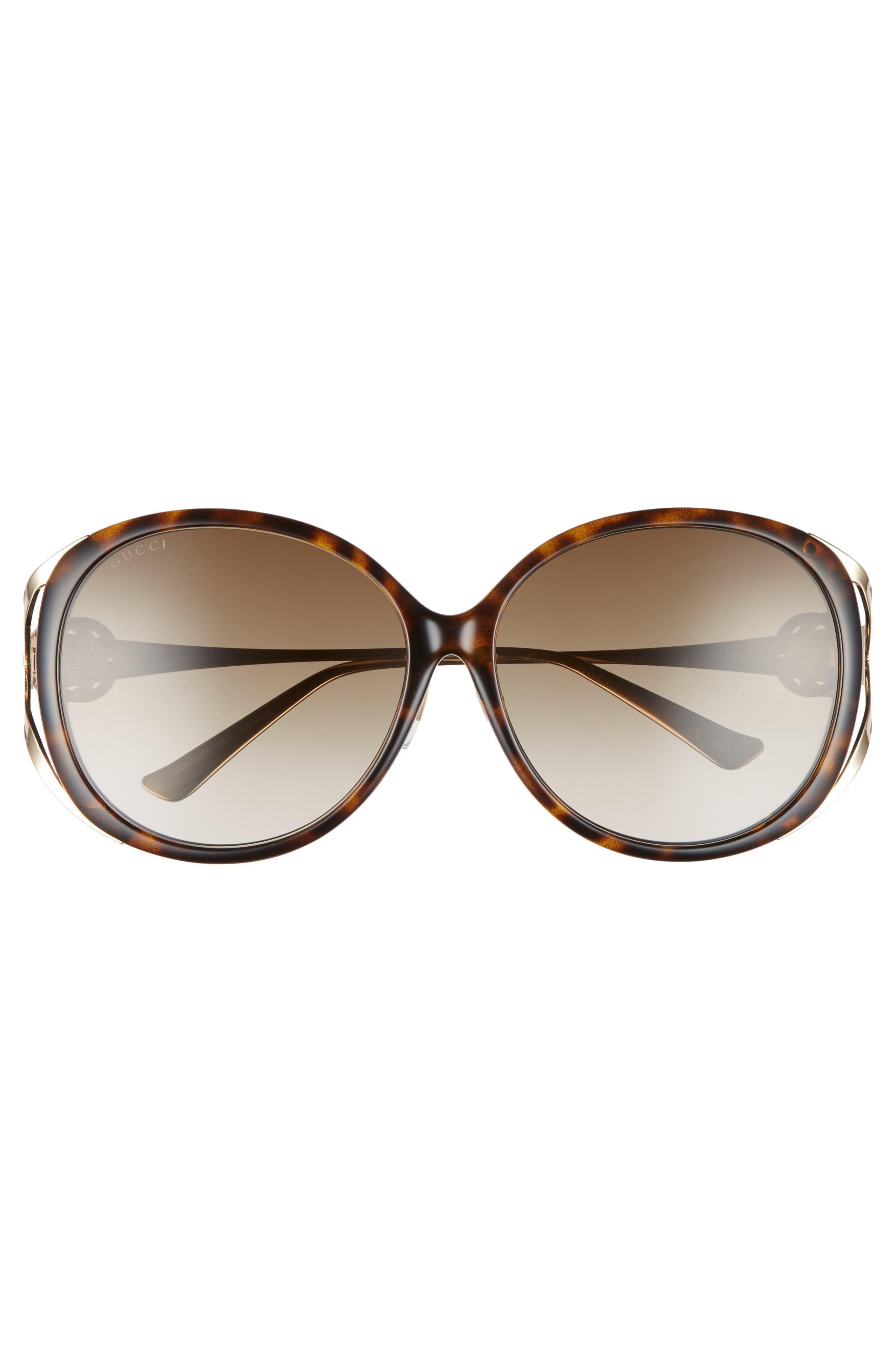 60mm Round Sunglasses,                             Alternate thumbnail 3, color,                             HAVANA
