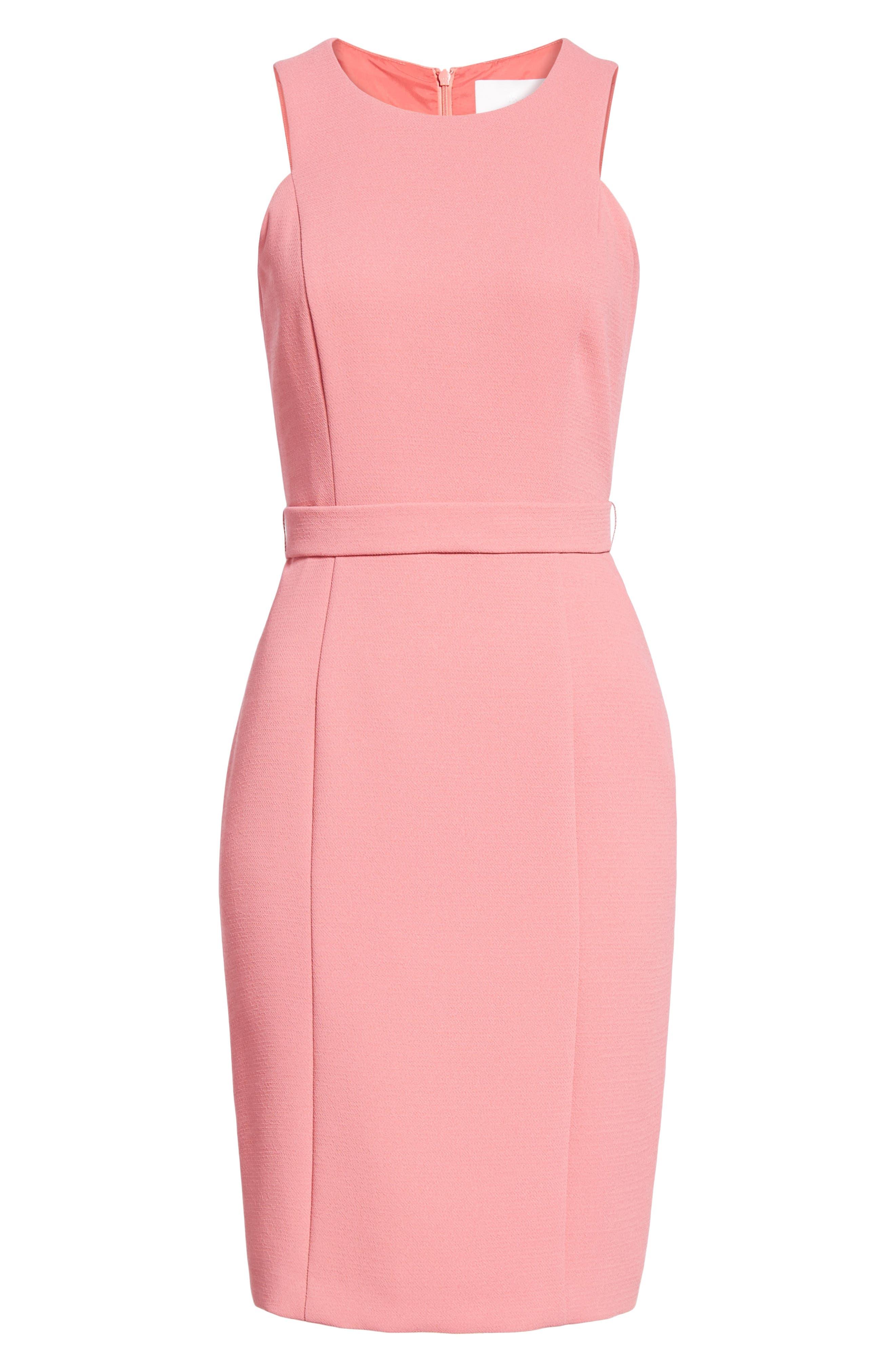 Dalanea Belted Sheath Dress,                             Alternate thumbnail 6, color,