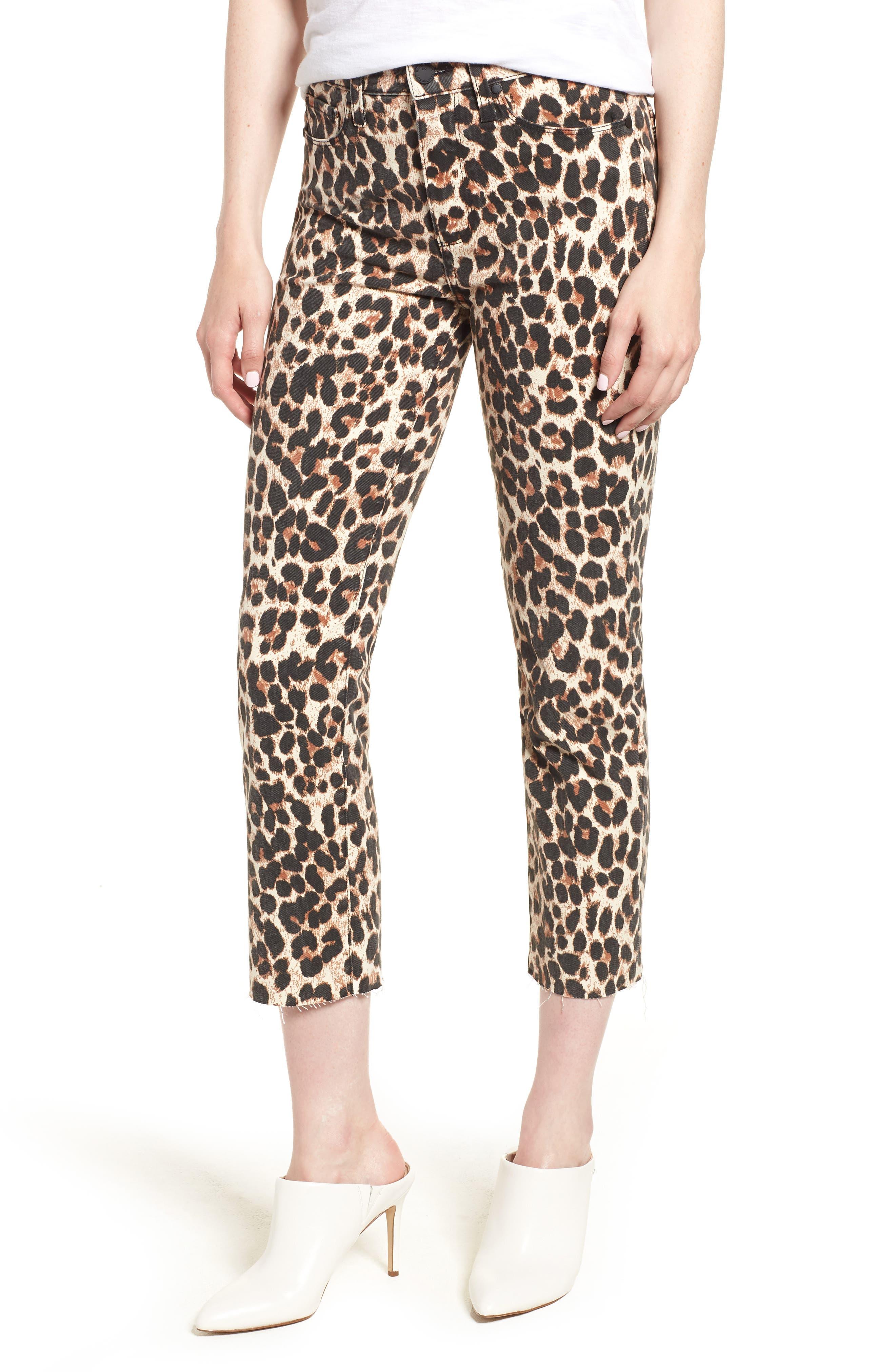 Hoxton High Waist Ankle Straight Leg Jeans,                         Main,                         color, SAHARA LEOPARD